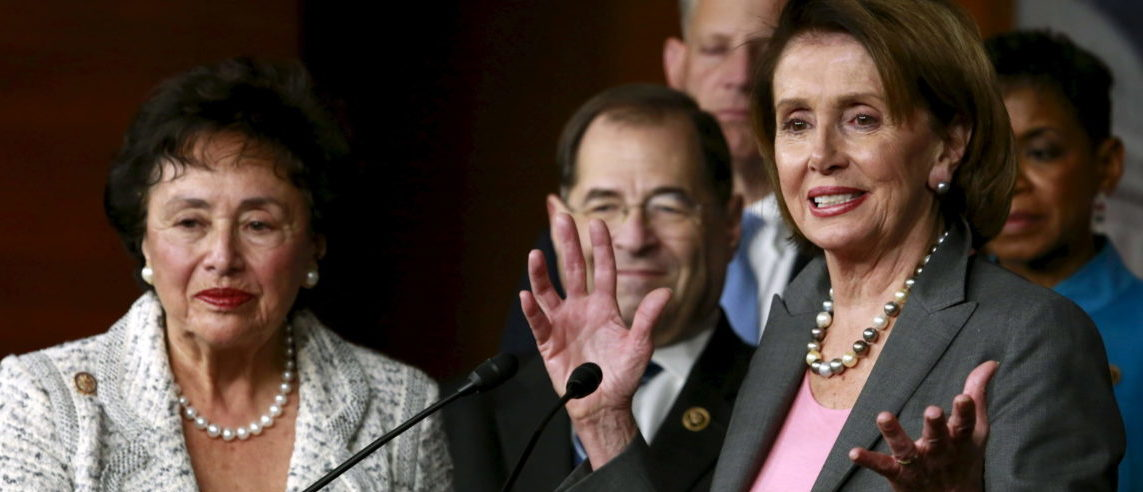 U.S. House Minority Leader Nancy Pelosi (D-CA) speaks next to U.S. Representative Nita Lowey (D-NY) (L) at a news conference with members of the House Democratic leadership following the House vote on the Omnibus bill on Capitol Hill in Washington, December 18, 2015. REUTERS/Yuri Gripas