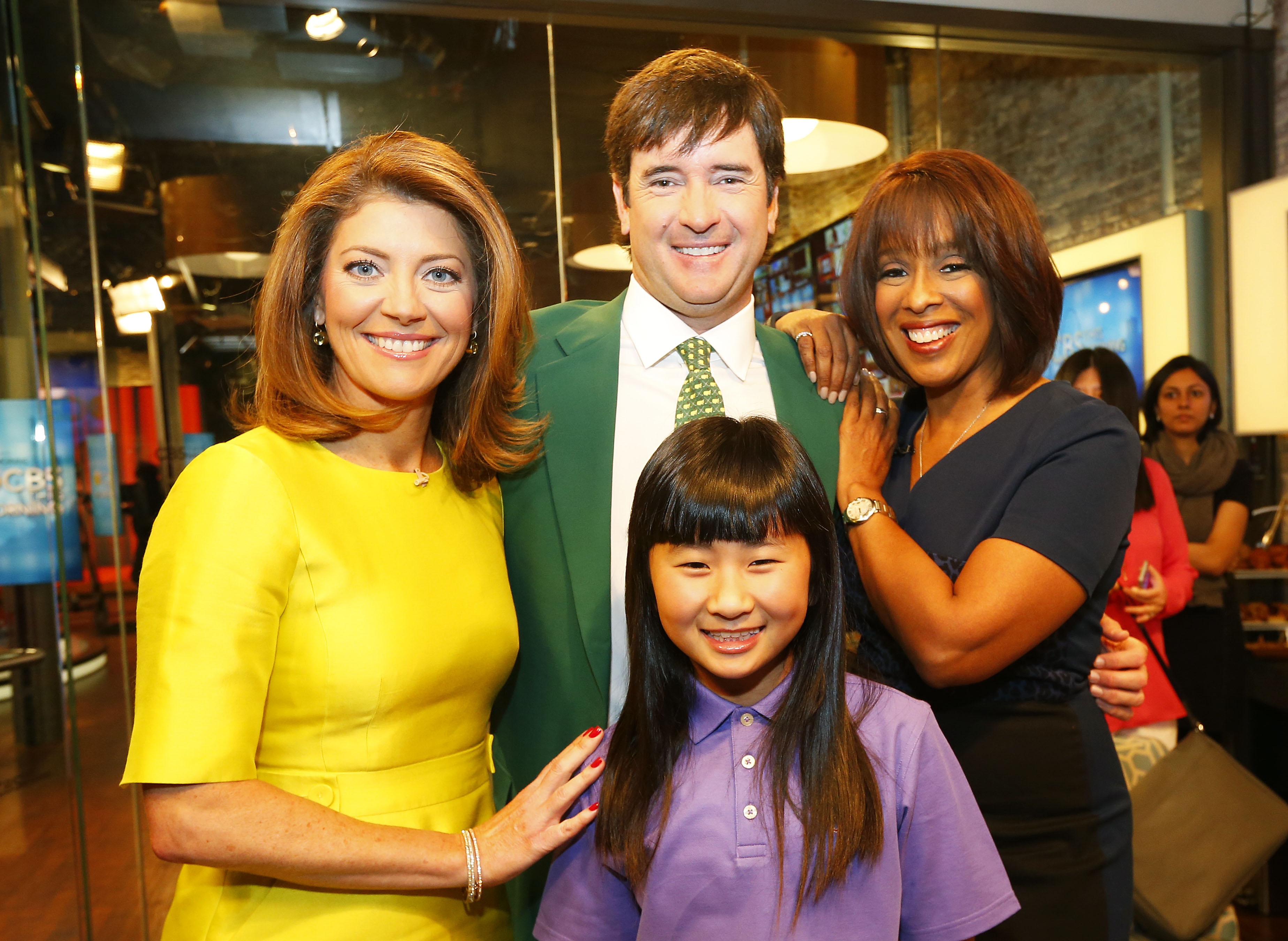 Two-time defending Masters Champion Bubba Watson and defending Drive, Chip & Putt National Champion, 10-year old Kelly Xu pose with Norah O'Donnell (L) and Gayle King (R) after their appearance on CBS This Morning at the CBS Broadcast Center on March 24, 2015 in New York City. Watson and defending Drive, Chip & Putt National Champion, 10-year old Kelly Xu are in New York City to promote registration for the Drive, Chip & Putt championship. (Photo by Mike Stobe/Getty Images for the DC&P Championship)