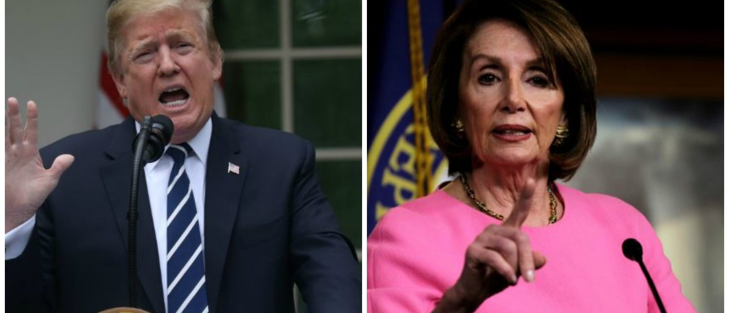 Trump speaks at the Rose Garden and Pelosi talks at a weekly press conference (REUTERS)