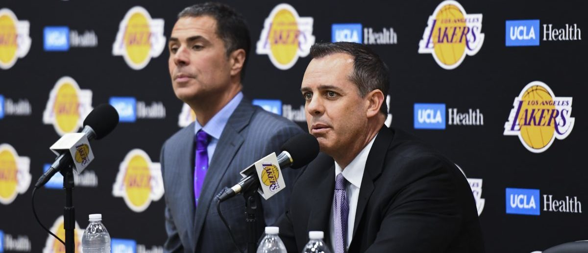 May 20, 2019; Los Angeles, CA, USA; Frank Vogel (right) addresses the media at a press conference as he is introduced as the new Los Angeles Lakers head coach at UCLA Health Training Center. Left is Lakers general manager Rob Pelinka. Mandatory Credit: Robert Hanashiro-USA TODAY Sports - via Reuters