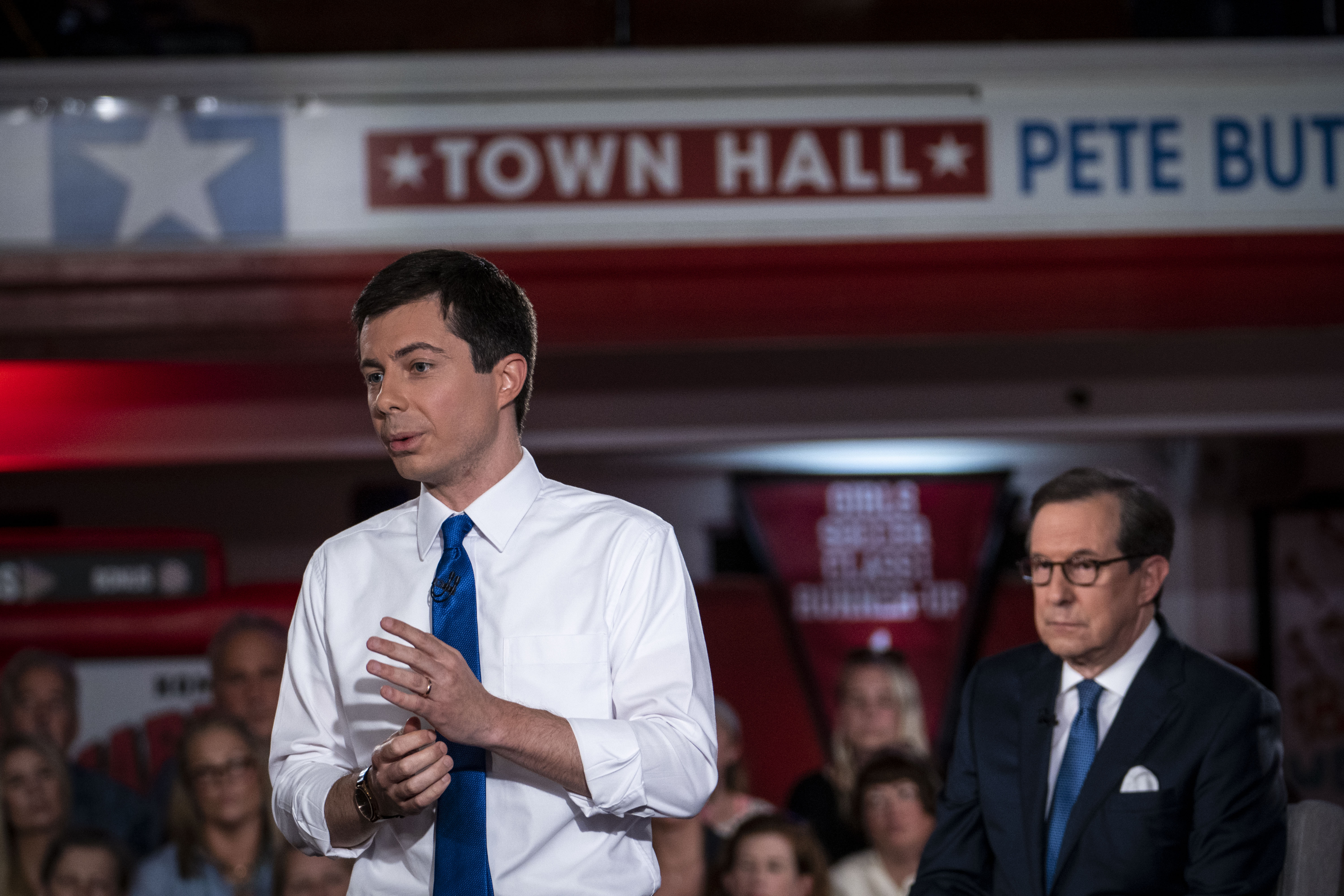 South Bend, Indiana Mayor Pete Buttigieg speaks during a town hall with Fox News (Sarah Rice/Getty Images)