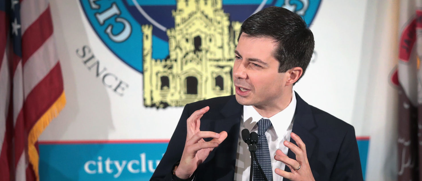 CHICAGO, ILLINOIS - MAY 16: Democratic presidential candidate and South Bend, Indiana Mayor Pete Buttigieg speaks to an overflow crowd during a luncheon hosted by the City Club of Chicago on May 16, 2019 in Chicago, Illinois. (Photo by Scott Olson/Getty Images)