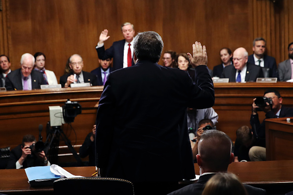 WASHINGTON, DC - MAY 1: U.S. Attorney General William Barr, is sworn in before testifying before the Senate Judiciary Committee May 1, 2019 in Washington, DC. Barr testified on the Justice Department's investigation of Russian interference with the 2016 presidential election. (Photo by Win McNamee/Getty Images)