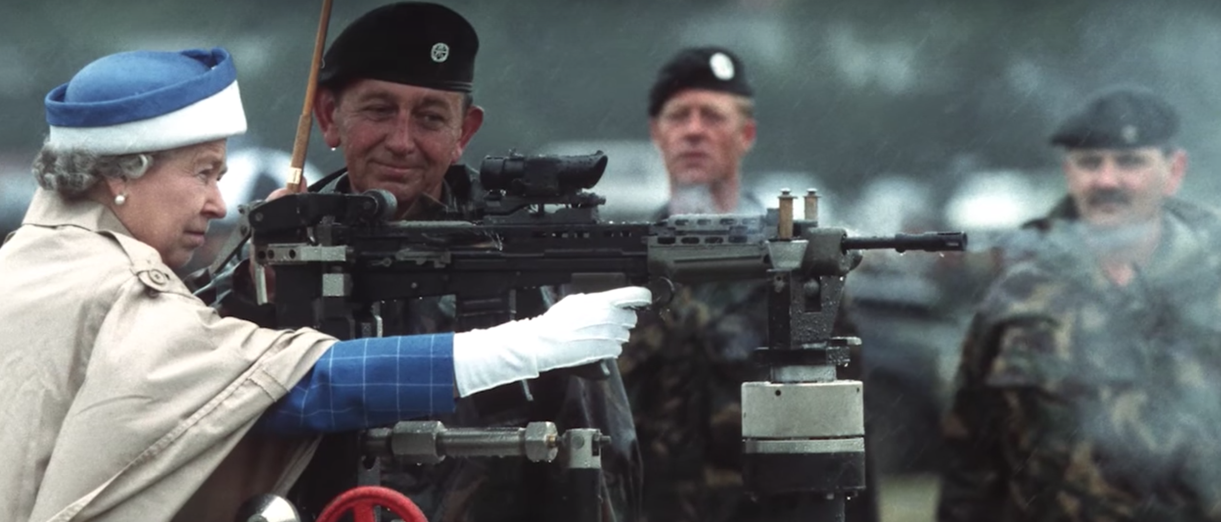 During WWII the then Princess Elizabeth learned to fire a machine gun. Photo from Youtube Screenshot.