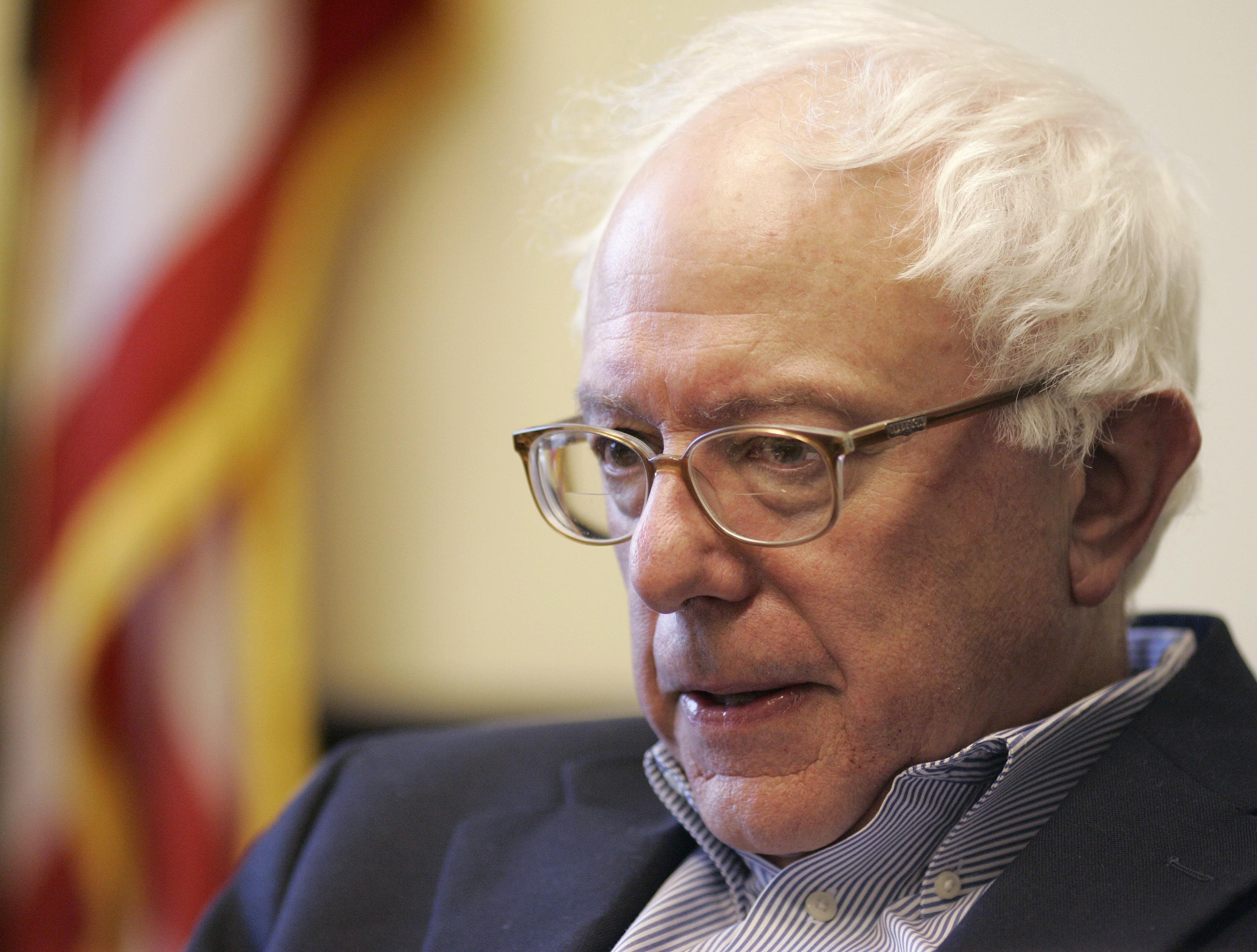 Senator-elect Bernie Sanders (I-VT) is interviewed by a Reuters reporter at Sanders' office in Burlington, Vermont November 28, 2006. (REUTERS/Brian Snyder)