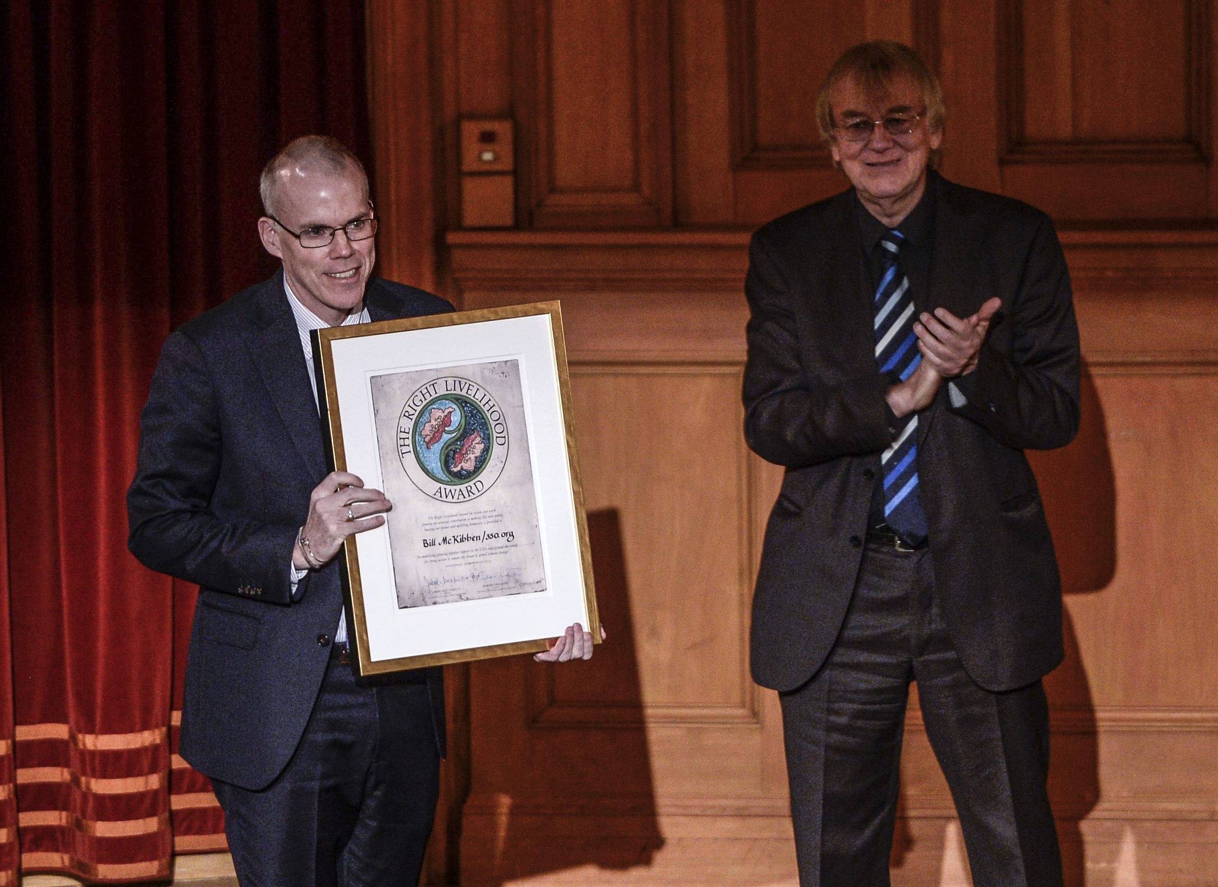 McKibben representing the organization 350.org of the U.S. receives the Right Livelihood Award from von Uexkull during the Right Livelihood Award ceremony in Stockholm