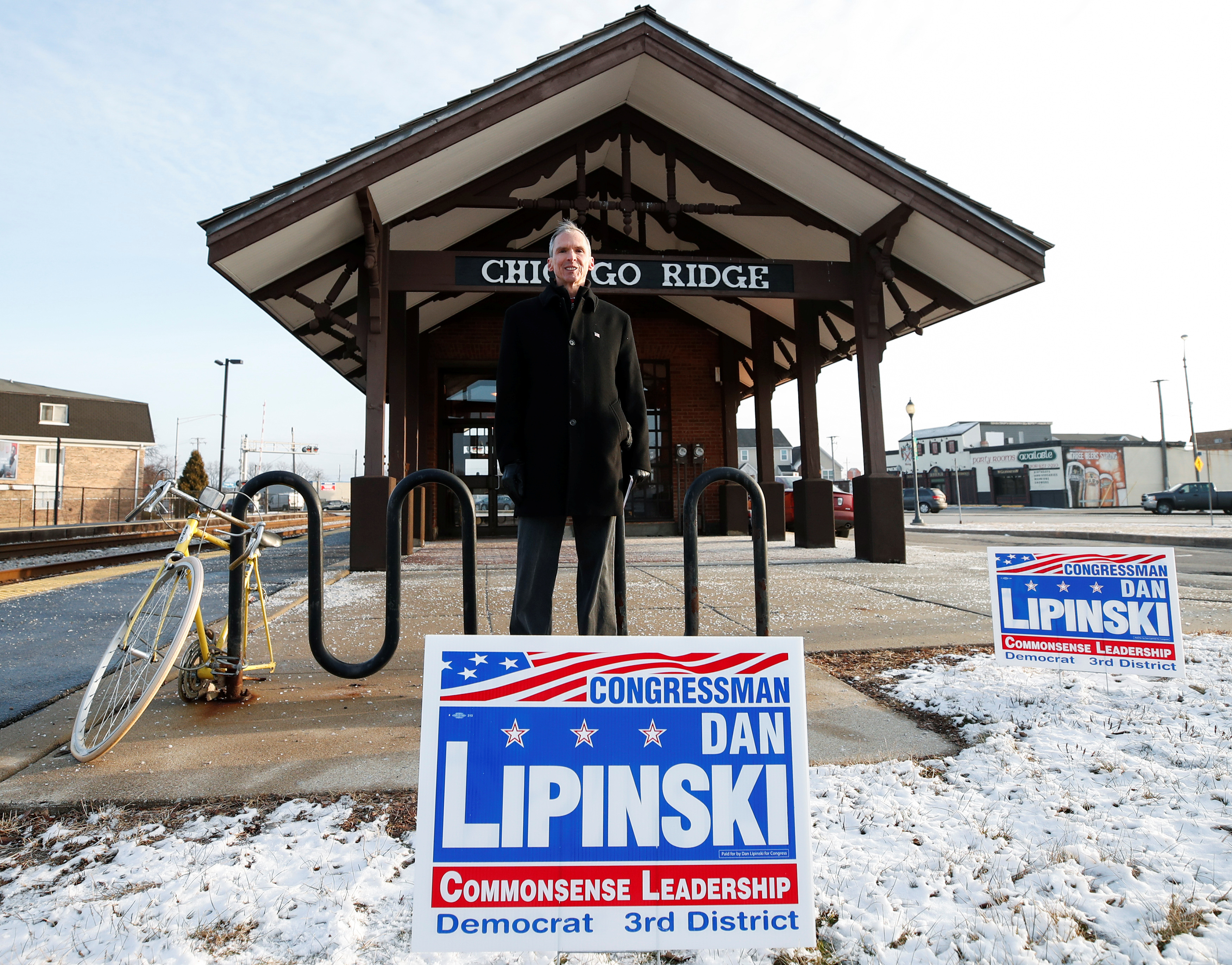 U.S. Congressman Daniel Lipinski poses for a picture after campaigning for re-election at the Chicago Ridge Metra commuter train station in Chicago Ridge, Illinois, U.S. January 25, 2018. Picture taken January 25, 2018. REUTERS/Kamil Krzacznski