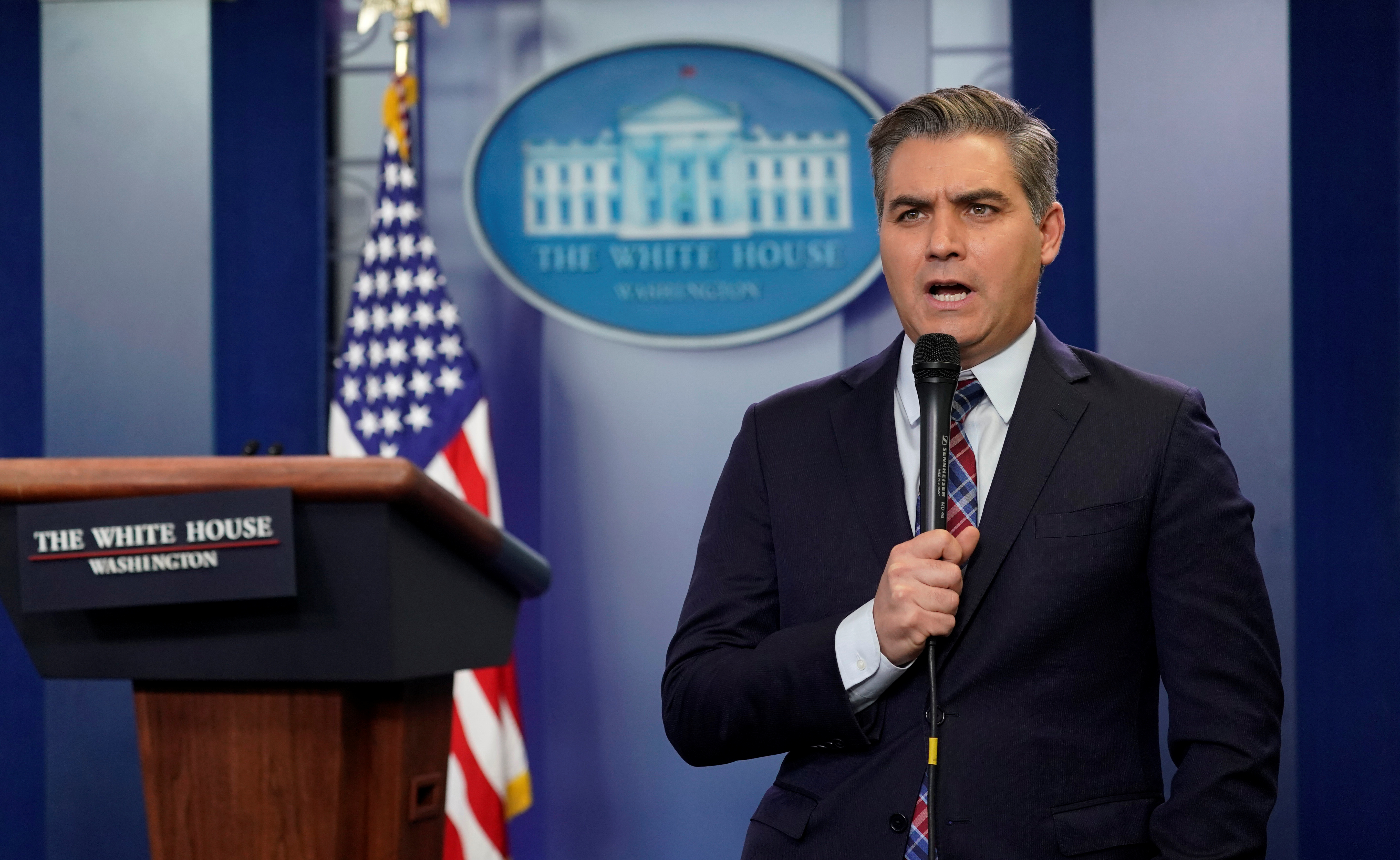CNN's Jim Acosta at work following press briefing at the White House in Washington