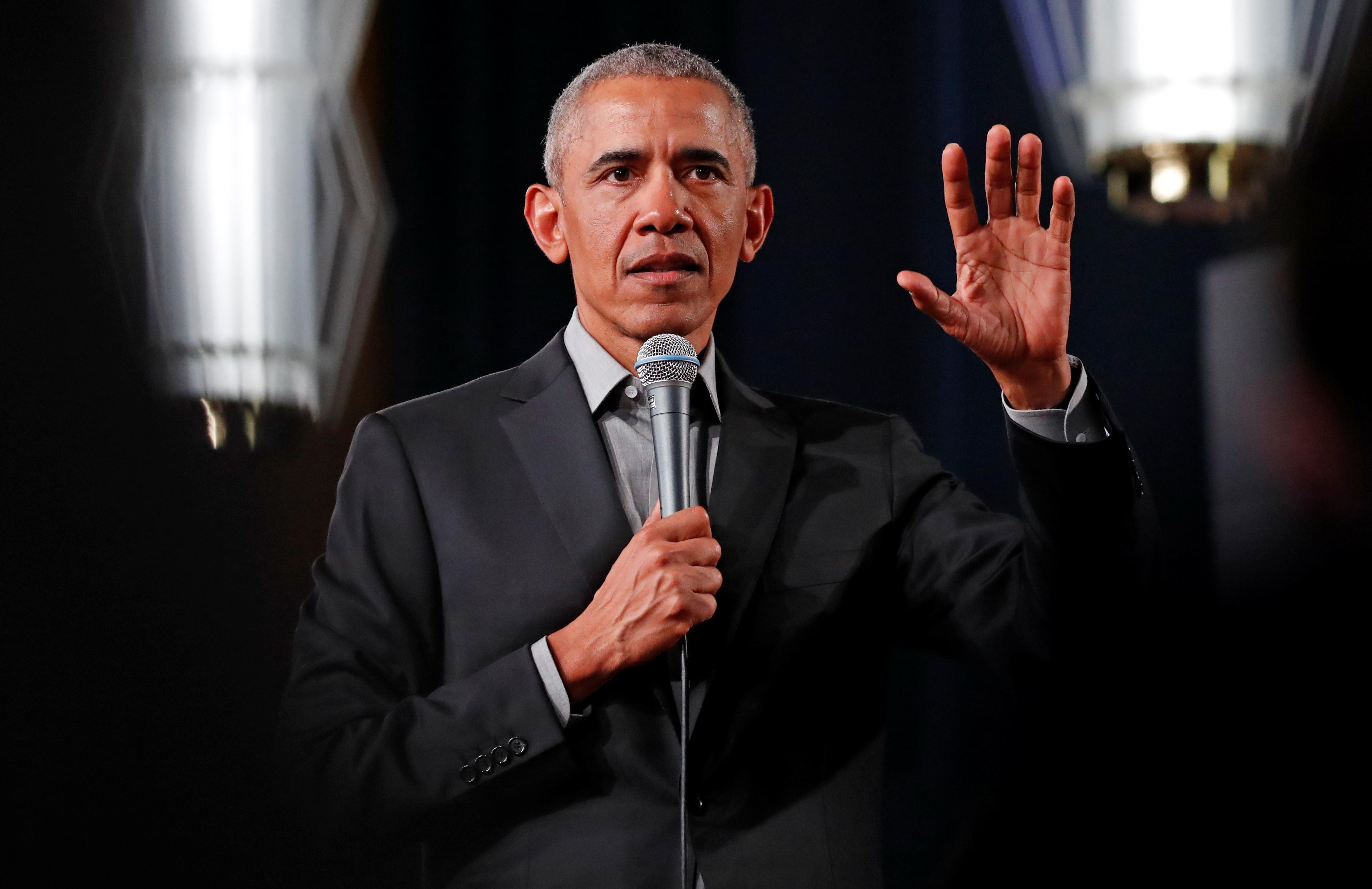 Former U.S. President Barack Obama addresses young leaders in Berlin
