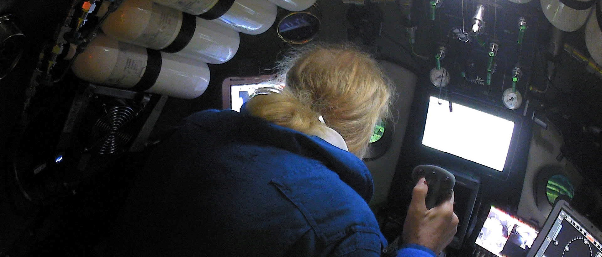 Undersea explorer Victor Vescovo pilots the submarine DSV Limiting Factor in the Pacific Ocean's Mariana Trench in an undated still image from video released by the Discovery Channel May 13, 2019. Atlantic Productions for Discovery Channel/Handout via REUTERS. ATTENTION EDITORS - THIS IMAGE WAS PROVIDED BY A THIRD PARTY. NO ARCHIVE. NO RESALES. MANDATORY CREDIT. - RC1A1E750D40
