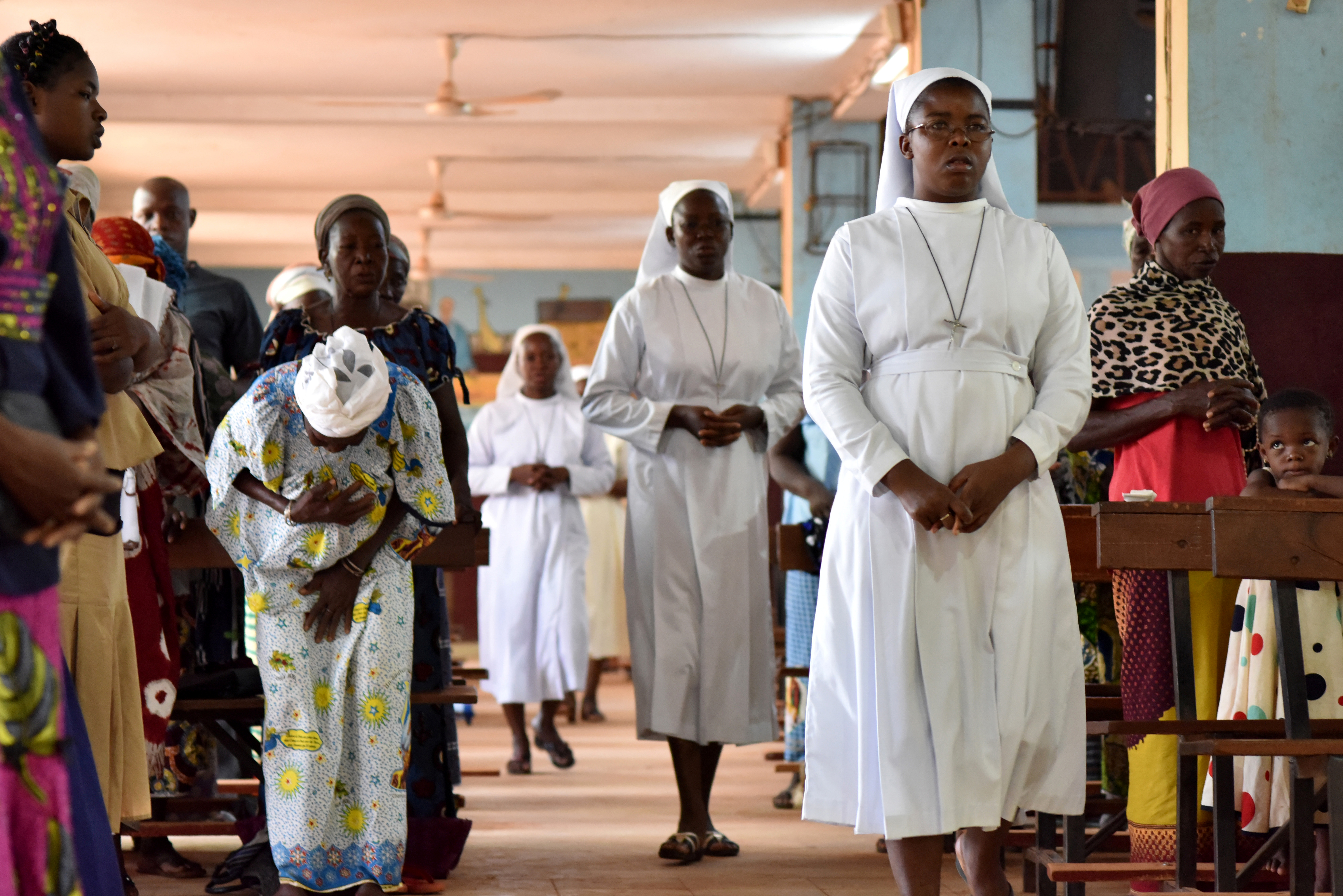 Catholic nuns attend a church service at the cathedral of Our Lady of Kaya in the city of Kaya, Burkina Faso May 16, 2019. Picture taken May 16, 2019. REUTERS/Anne Mimault