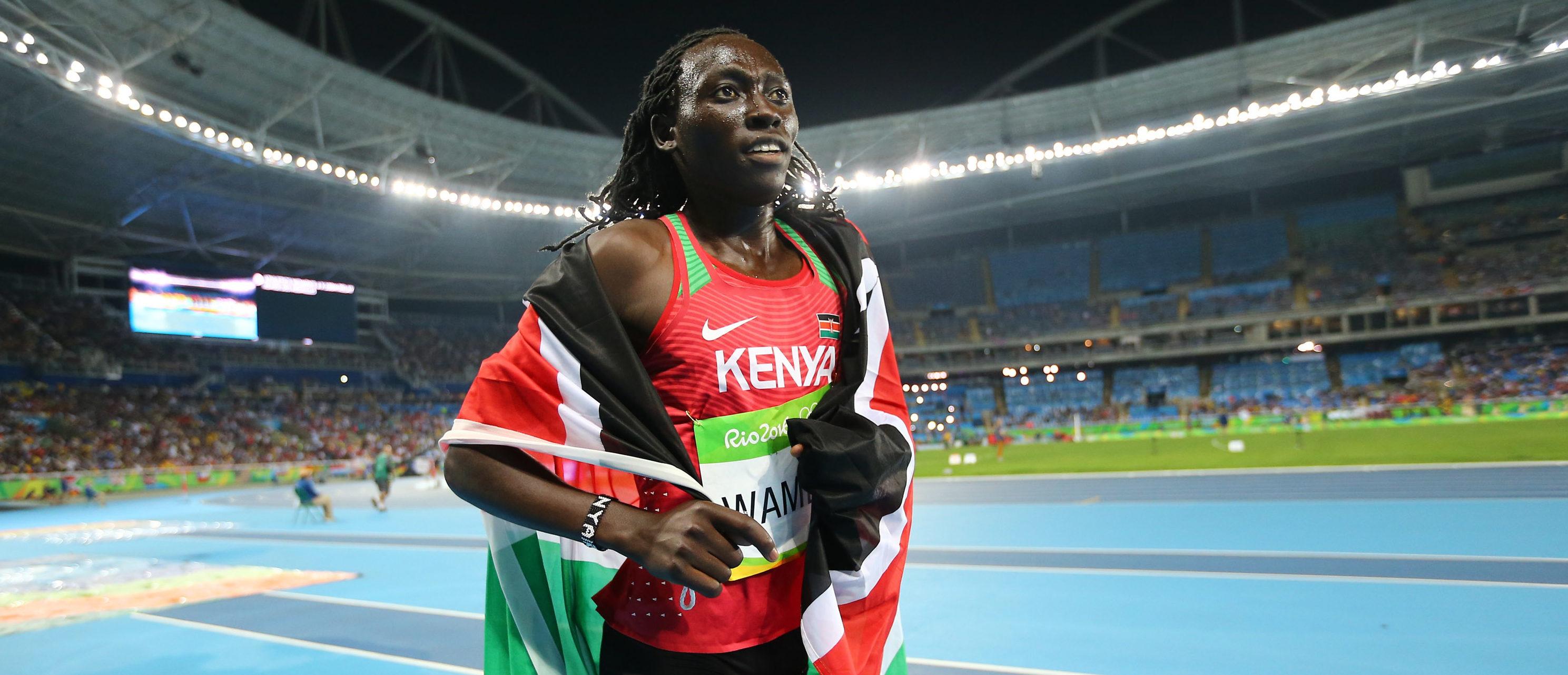 2016 Rio Olympics - Athletics - Final - Women's 800m Final - Olympic Stadium - Rio de Janeiro, Brazil - 20/08/2016. Margaret Wambui (KEN) of Kenya celebrates winning the bronze medal. REUTERS/Dominic Ebenbichler
