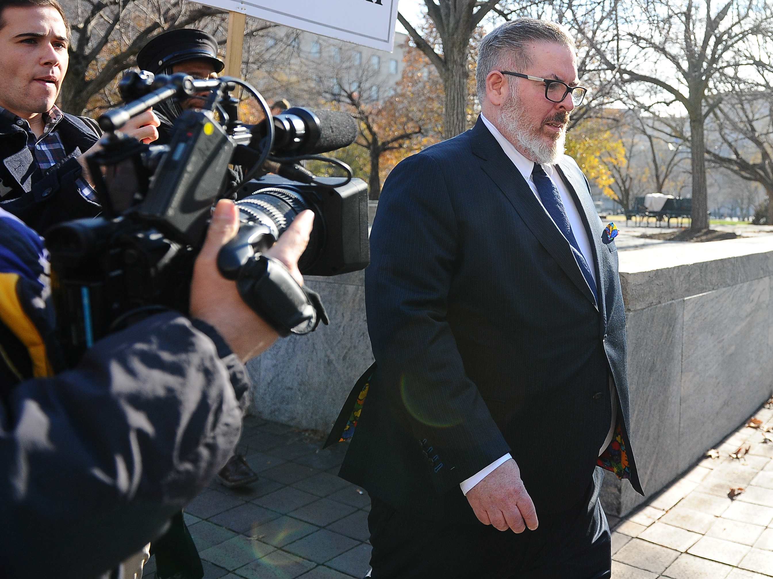 Robert Driscoll, an attorney for Maria Butina, who is accused of acting as a Russian agent to infiltrate the National Rifle Association lobby group and influence U.S. policy toward Moscow, leaves U.S. District Court after his client's plea hearing in Washington, U.S., December 13, 2018. REUTERS/Mary F. Calvert