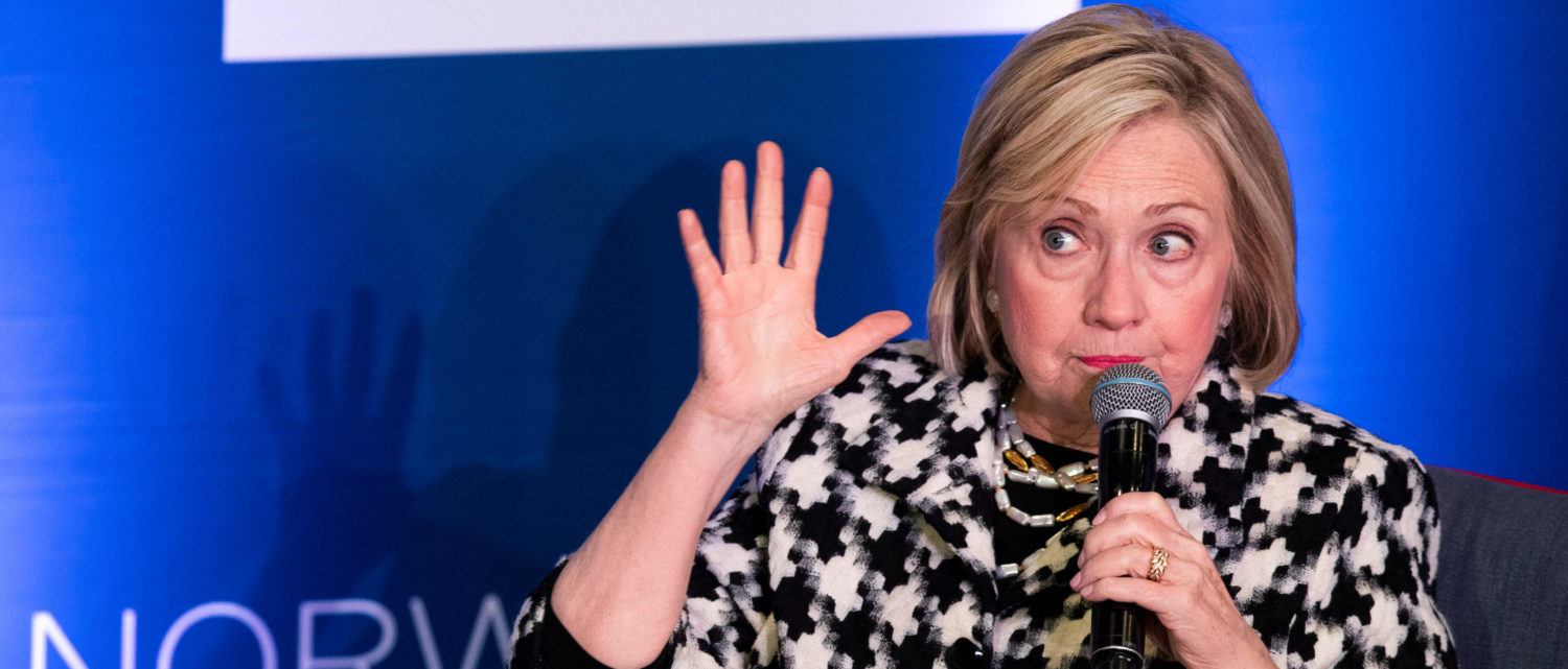 Former US Secretary of State, Hillary Rodham Clinton, attends an international conference focusing on gender equality at BI Norwegian Business School in Oslo, Norway March 8, 2019. NTB Scanpix/Berit Roald via REUTERS