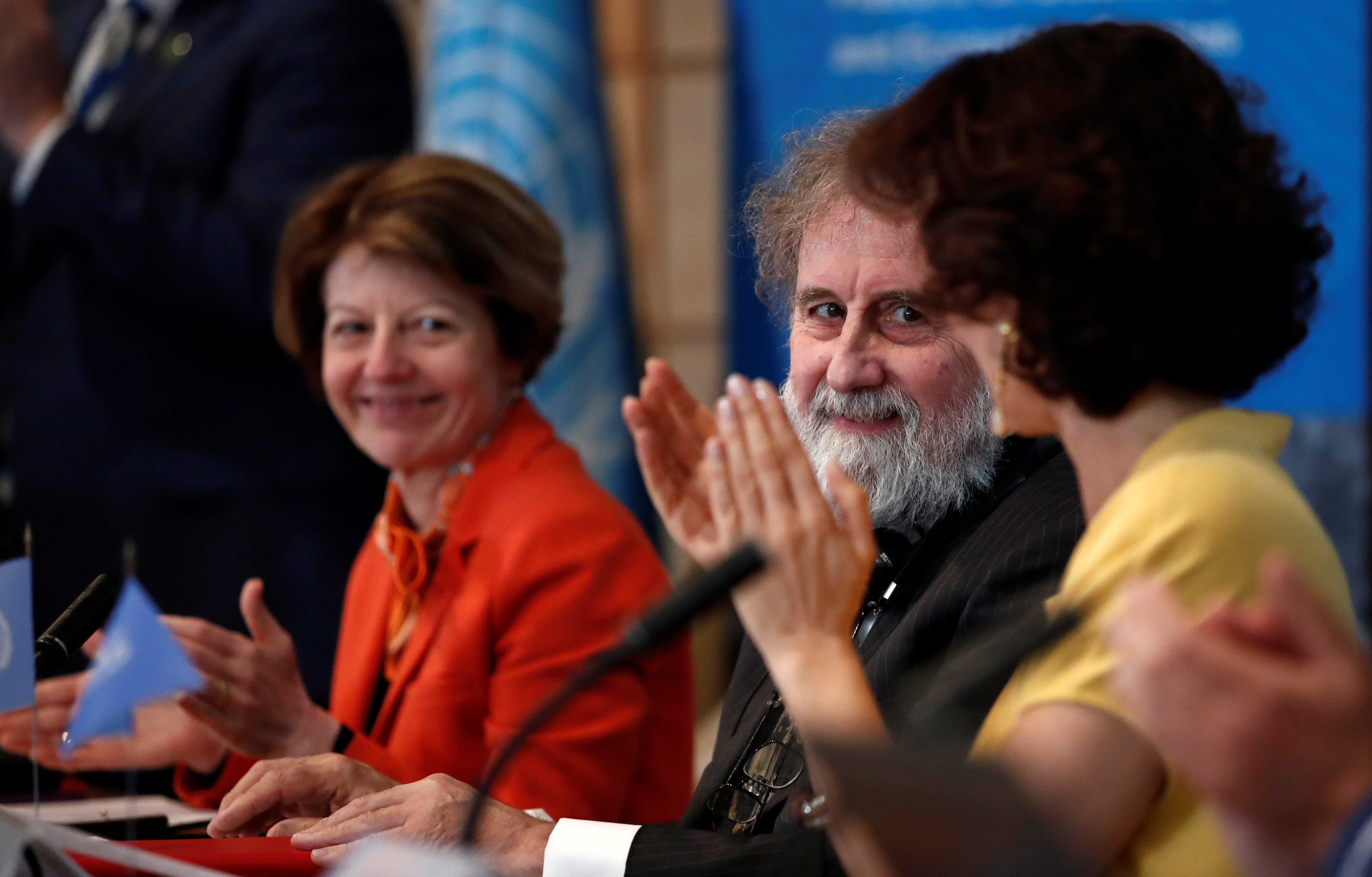 Former IPBES Chair Robert Watson attends a news conference on the launching of a landmark report on the damage done by modern civilisation to the natural world at the UNESCO headquarters in Paris