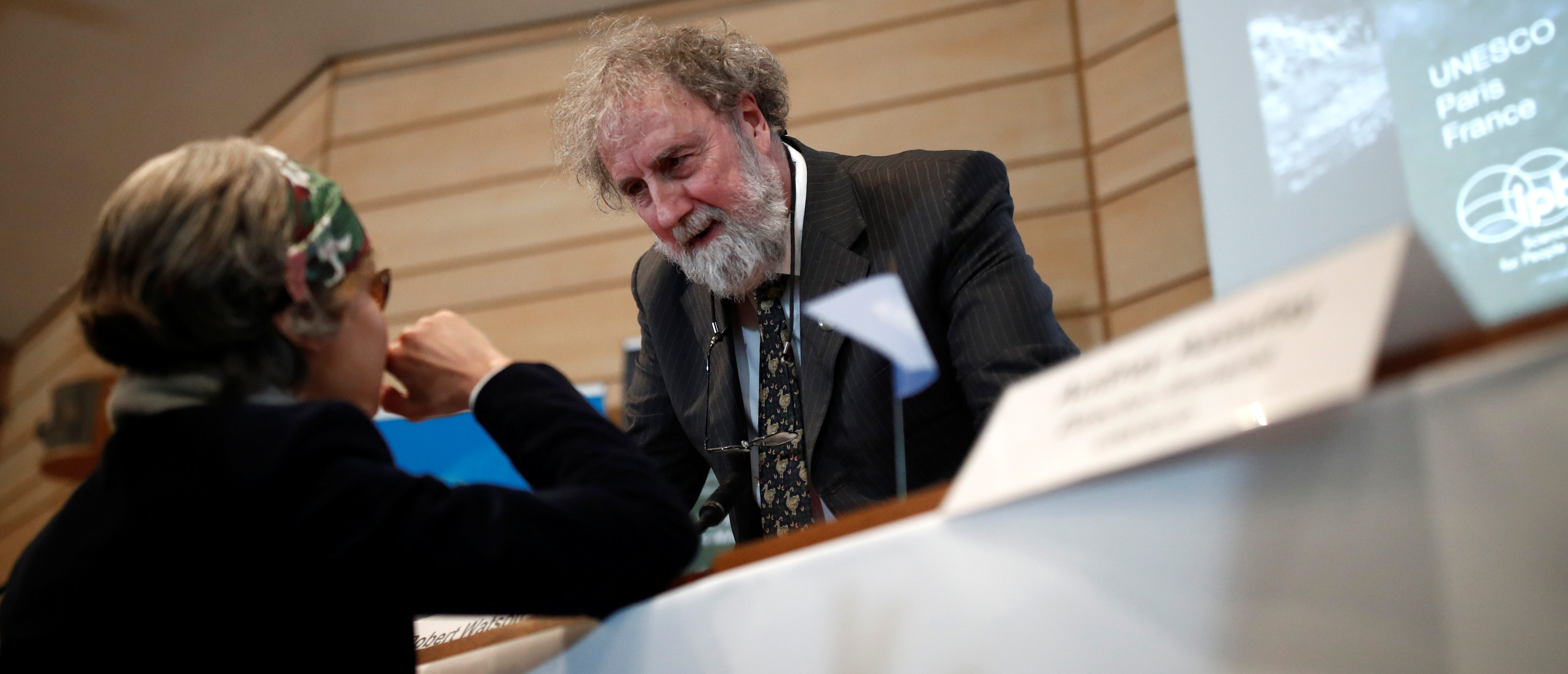 Former IPBES (Intergovernmental Science-Policy Platform on Biodiversity and Ecosystem Services) Chair Robert Watson attends a news conference on the launching of a landmark report on the damage done by modern civilisation to the natural world by the IPBES at the UNESCO headquarters in Paris, France, May 6, 2019. REUTERS/Benoit Tessier.