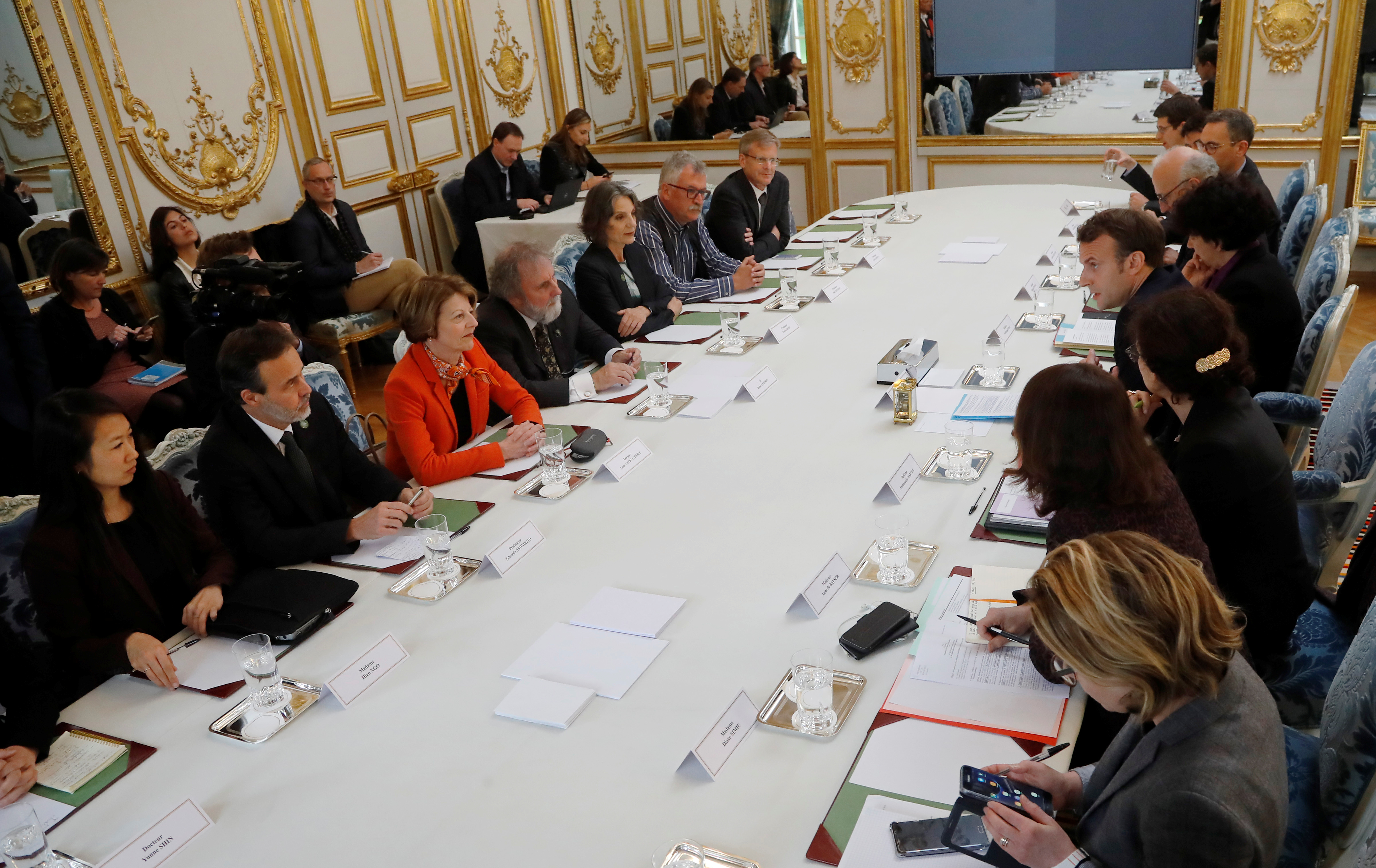 French President Macron meets scientists from IPBES