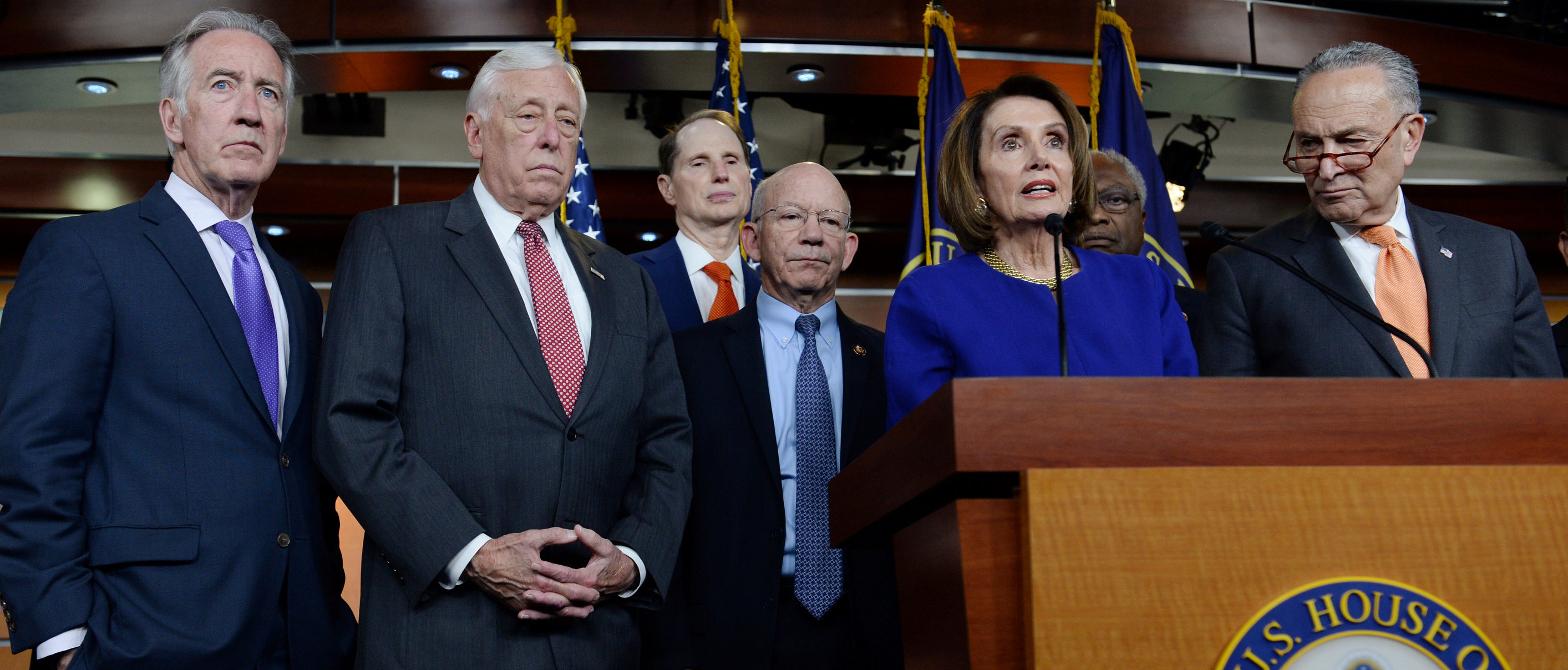 "House Speaker Nancy Pelosi (D-CA), Senate Democratic Leader Chuck Schumer (D-NY) (R) and other Democratic lawmakers speak to Capitol Hill reporters about the ""Gold Star Family Relief Act"" after a planned White House meeting with U.S. President Donald Trump to discuss infrastructure was cut short in Washington, U.S., May 22, 2019. REUTERS/Mary Calvert - RC134FE50C10"