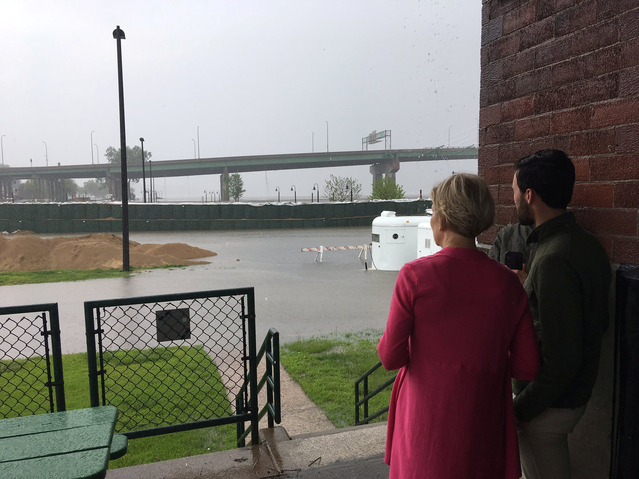 Democratic 2020 presidential candidate Elizabeth Warren campaigns during a tornado warning in Burlington