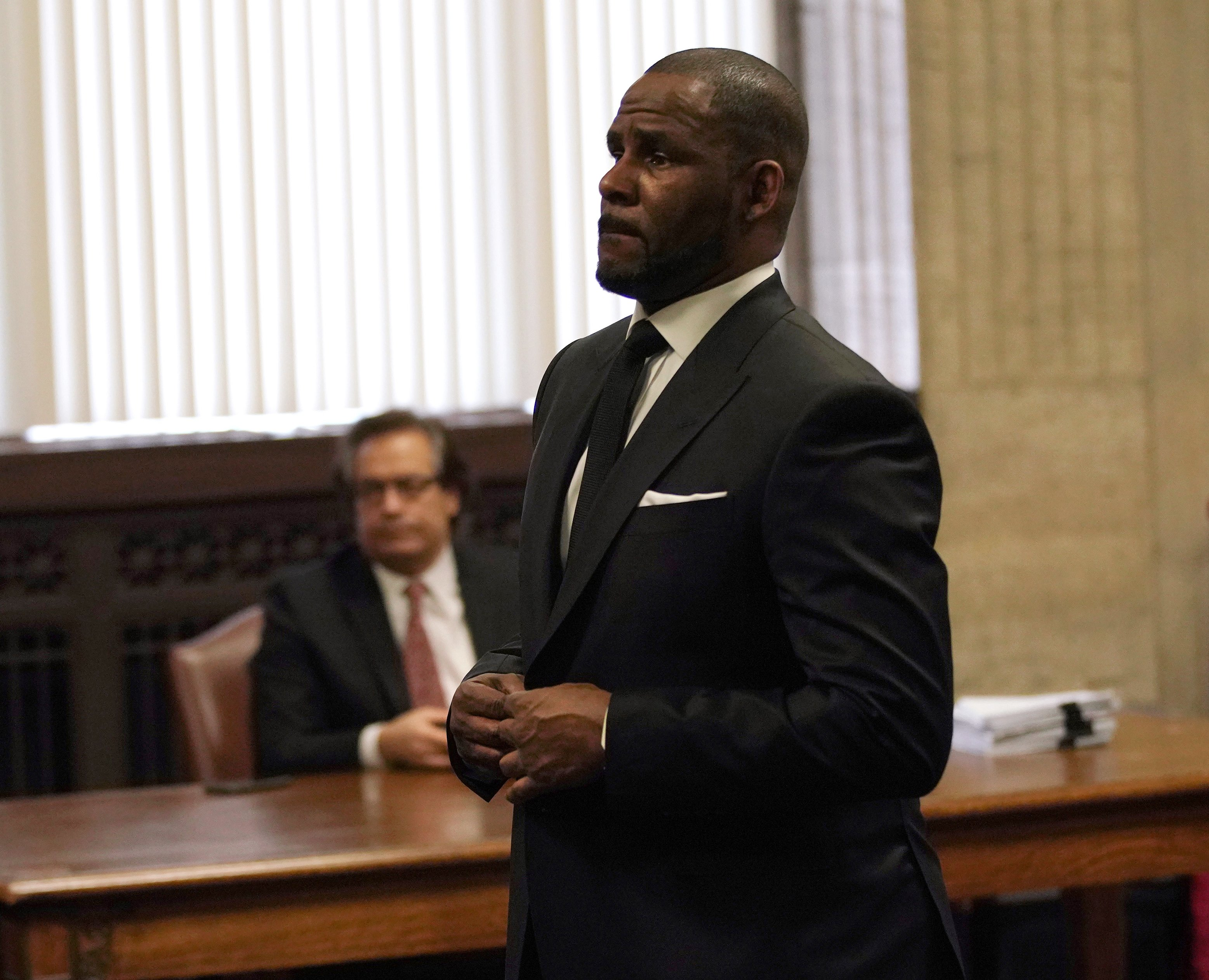Singer R. Kelly appears in court for a hearing to request that he be allowed to travel to Dubai at the Leighton Criminal Court Building on March 22, 2019 in Chicago, Illinois. R. Kelly appeared before a judge to request permission to travel to Dubai to perform in concerts. (Photo by E. Jason Wambsgans-Pool/Getty Images)