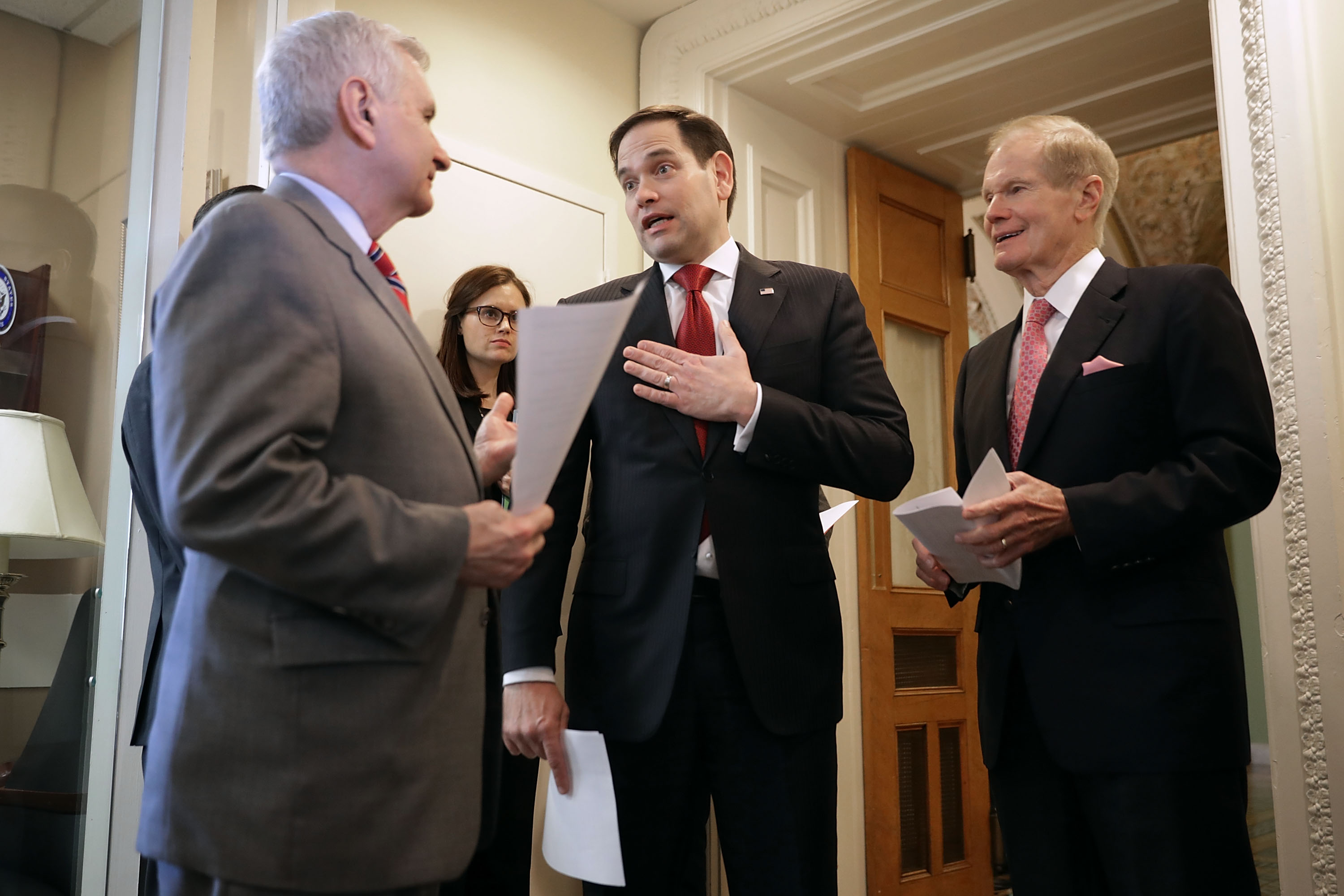 "(L-R) Sen. Jack Reed (D-RI), Sen. Marco Rubio (R-FL) and Sen. Bill Nelson (D-FL) talk about their bipartisan legislation to create ""red flag"" gun laws before a news conference at the U.S. Capitol March 22, 2018 in Washington, DC. The law would give federal support so states can establish programs to address Òred flags,"" extreme risk protection orders against people who have become a danger to themselves or others. (Photo by Chip Somodevilla/Getty Images)"