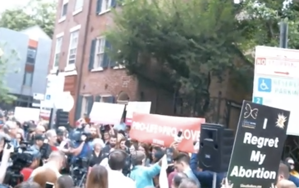 YouTube screenshot of the Brian Sims protest outside PP (New World Order of the Time Broadcast)