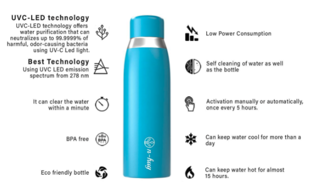 The Leak-proof, spill-proof and waterproof bottle can be taken wherever you go and you get purified water at the touch of a single bit of a button!