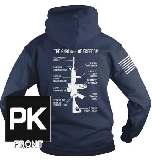 "Why do we need guns? This sweatshirt helps break down the ""Anatomy of Freedom""!"