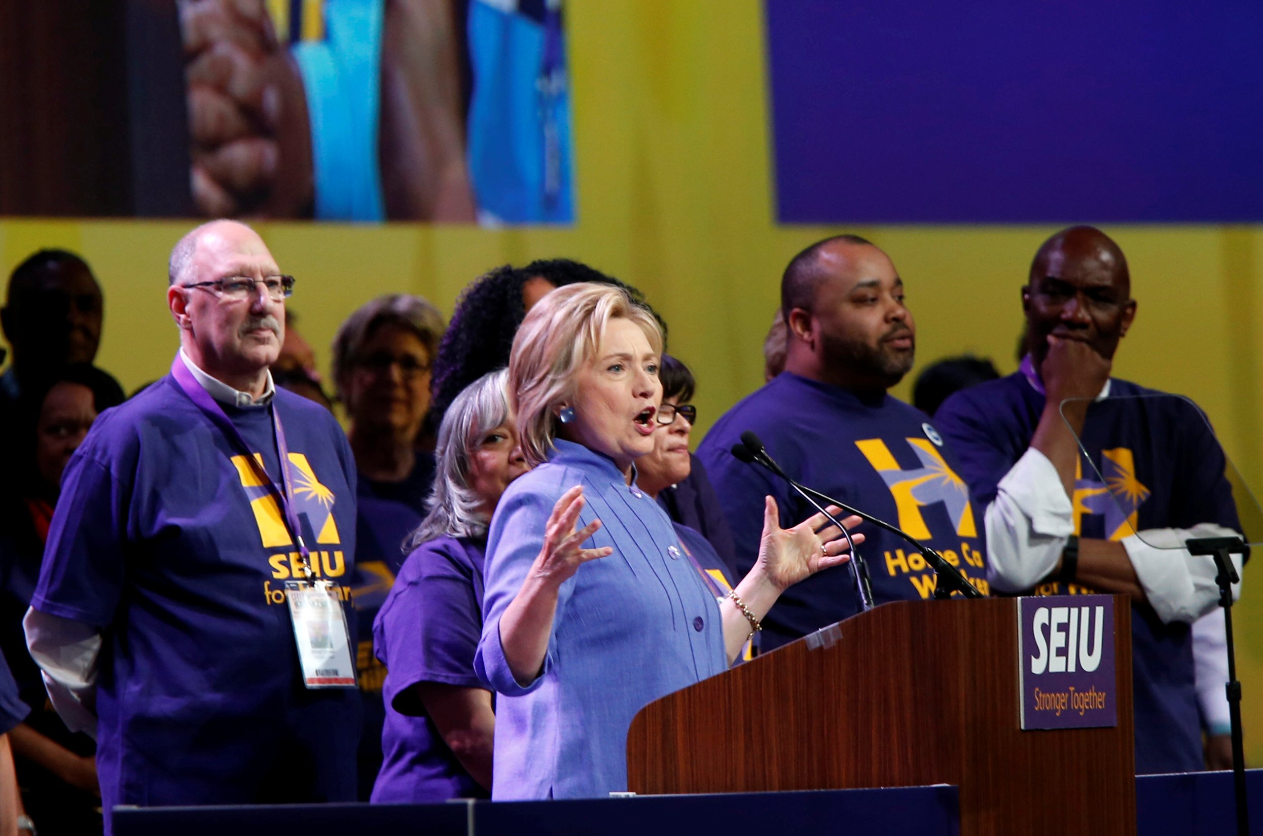 Democratic presidential candidate Hillary Clinton addresses Service Employees Union members at the union's 2016 International Convention in Detroit, Michigan May 23, 2016. REUTERS/Rebecca Cook