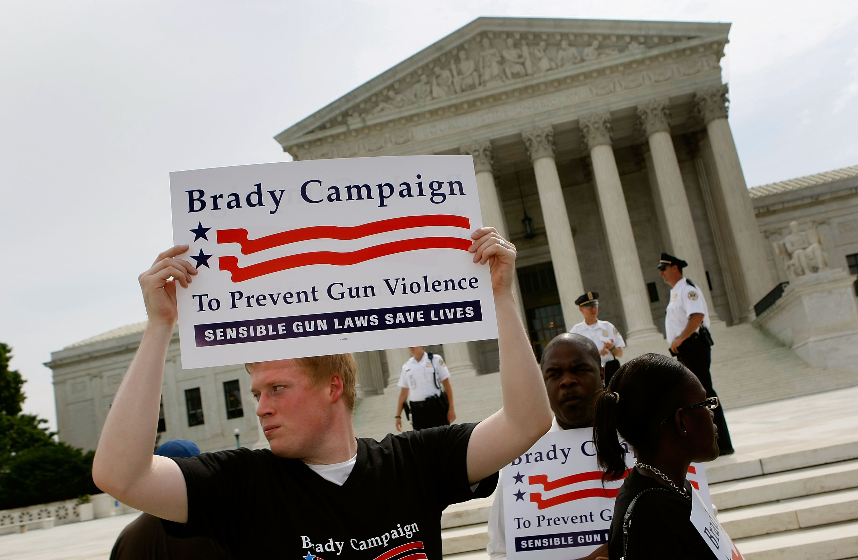 An activist with the Brady Campaign stands in front stand in front of the Supreme Court on June 26, 2008. (Mark Wilson/Getty Images)