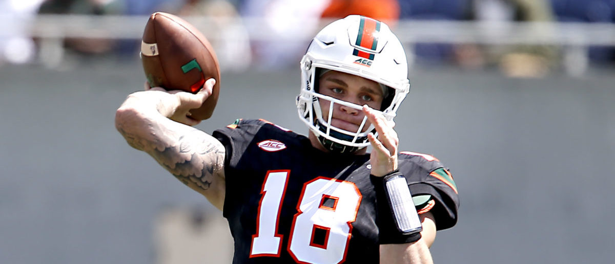 Apr 20, 2019; Orlando, FL, USA; Miami Hurricanes quarterback Tate Martell (18) throws a pass during warmups before the Miami spring game at Camping World Stadium. Mandatory Credit: Reinhold Matay-USA TODAY Sports - via Reuters