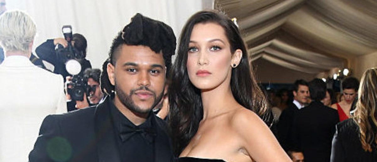 """NEW YORK, NY - MAY 02: The Weeknd (L) and Bella Hadid attend the """"Manus x Machina: Fashion In An Age Of Technology"""" Costume Institute Gala at Metropolitan Museum of Art on May 2, 2016 in New York City. (Photo by Larry Busacca/Getty Images)"""