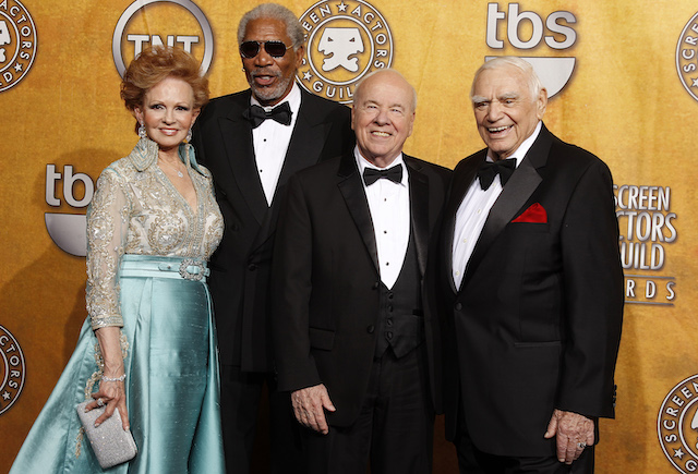 Actor Ernest Borgnine (R), winner of the life achievement award, poses with his wife Tova (L) and presenters Morgan Freeman and Tim Conway (3rd L) at the 17th annual Screen Actors Guild Awards in Los Angeles, California January 30, 2011. REUTERS/Lucy Nicholson