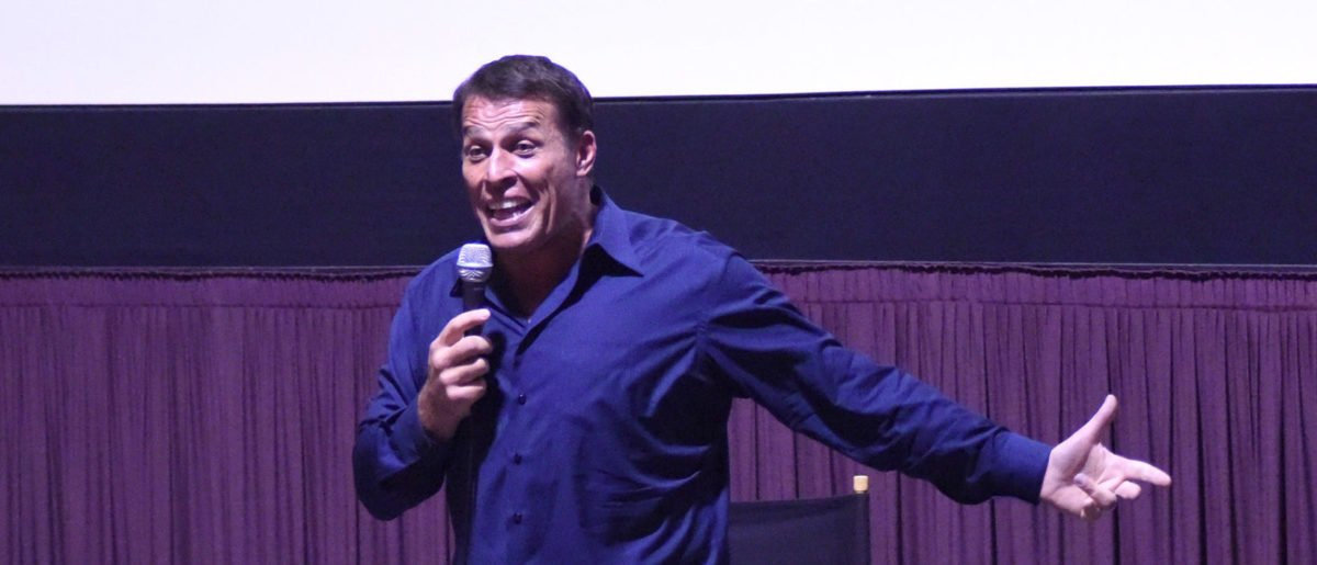 """Tony Robbins speaks during a Q&A at the celebration of the release of Joe Berlinger / Tony Robbins documentary """"I Am Not Your Guru"""" now available on Netflix at Laemmle Music Hall on July 15, 2016 in Beverly Hills, California. (Photo by Vivien Killilea/Getty Images for Tony Robbins)"""