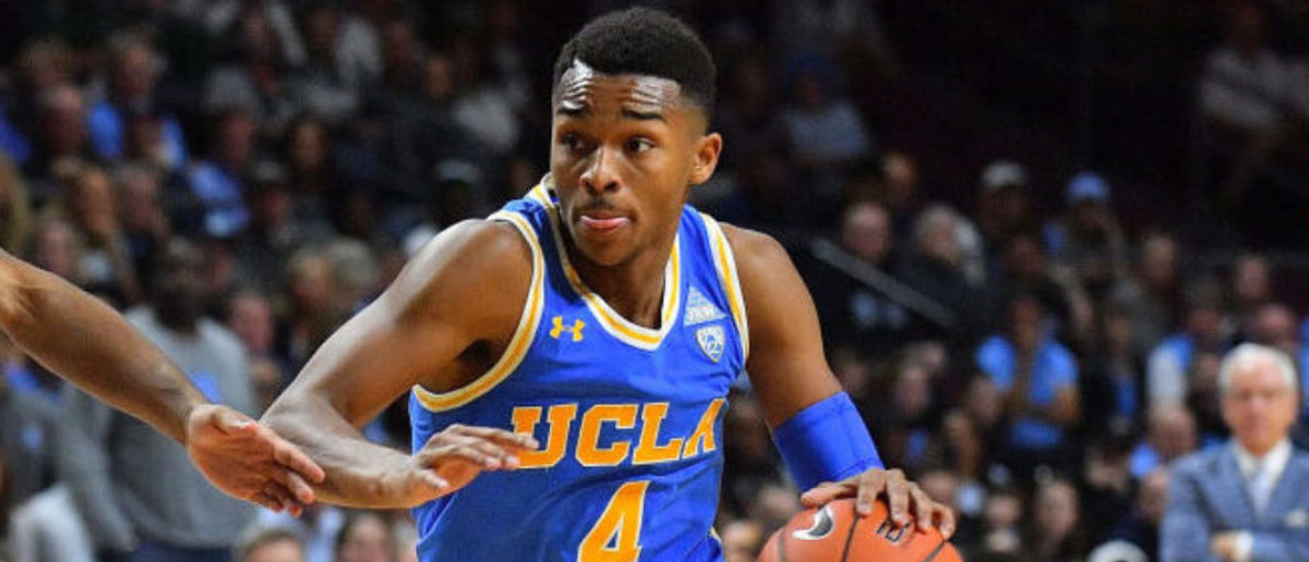 LAS VEGAS, NEVADA - NOVEMBER 23: Jaylen Hands #4 of the UCLA Bruins drives against Coby White #2 of the North Carolina Tar Heels during the 2018 Continental Tire Las Vegas Invitational basketball tournament at the Orleans Arena on November 23, 2018 in Las Vegas, Nevada. North Carolina defeated UCLA 94-78. (Photo by Sam Wasson/Getty Images)