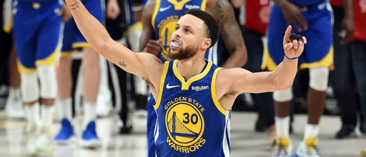 PORTLAND, OREGON - MAY 20: Stephen Curry #30 of the Golden State Warriors celebrates defeating the Portland Trail Blazers 119-117 during overtime in game four of the NBA Western Conference Finals to advance to the 2019 NBA Finals at Moda Center on May 20, 2019 in Portland, Oregon. (Photo by Steve Dykes/Getty Images)