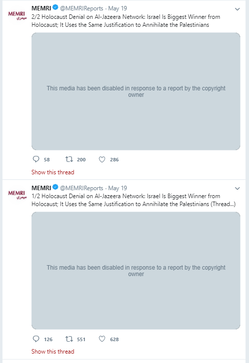 Anti-Semitic Al Jazeera video censored by Twitter / Screenshot