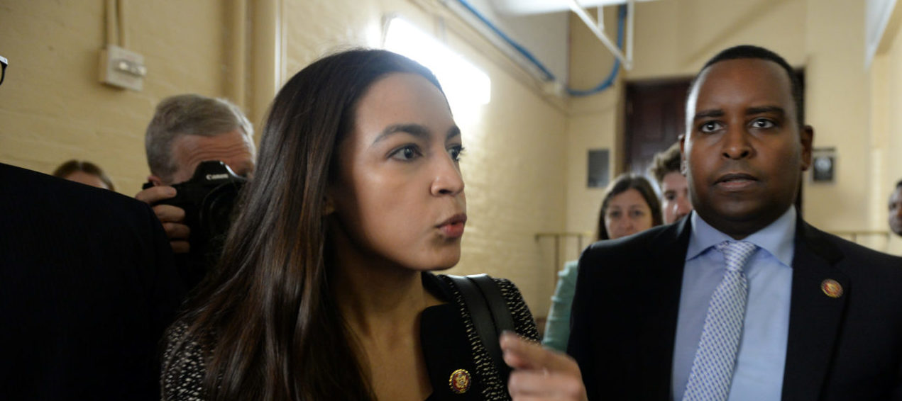 Rep. Alexandria Ocasio-Cortez, D-NY, leaves a closed House Democratic Caucus meeting in Washington, U.S., May 22, 2019. REUTERS/Mary F. Calvert
