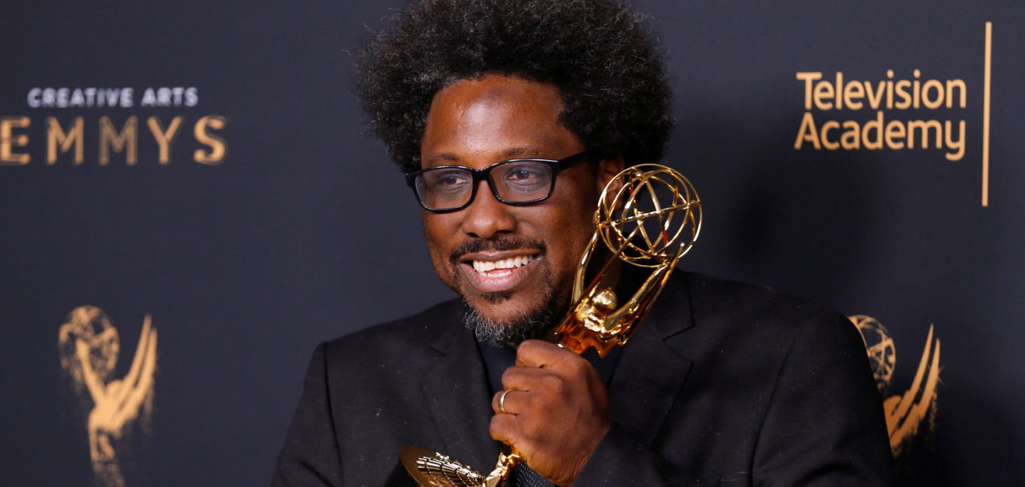 "Executive producer W. Kamau Bell poses with his Outstanding Unstructured Reality Program for ""United Shades of America with W. Kamau Bell"" Emmy Award backstage at the 2017 Creative Arts Emmy Awards in Los Angeles, California, U.S. September 9, 2017. REUTERS/Danny Moloshok"