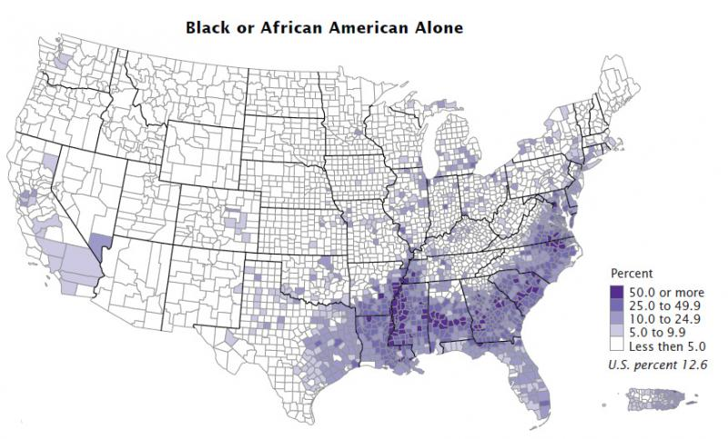 The black or African American population as a percent of a county's population in 2010/ U.S. CENSUS BUREAU