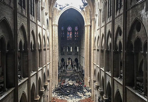 TOPSHOT - A picture taken on April 16, 2019 shows an interior view of the Notre-Dame Cathedral in Paris in the aftermath of a fire that devastated the cathedral. (Photo by AFP/Getty Images)