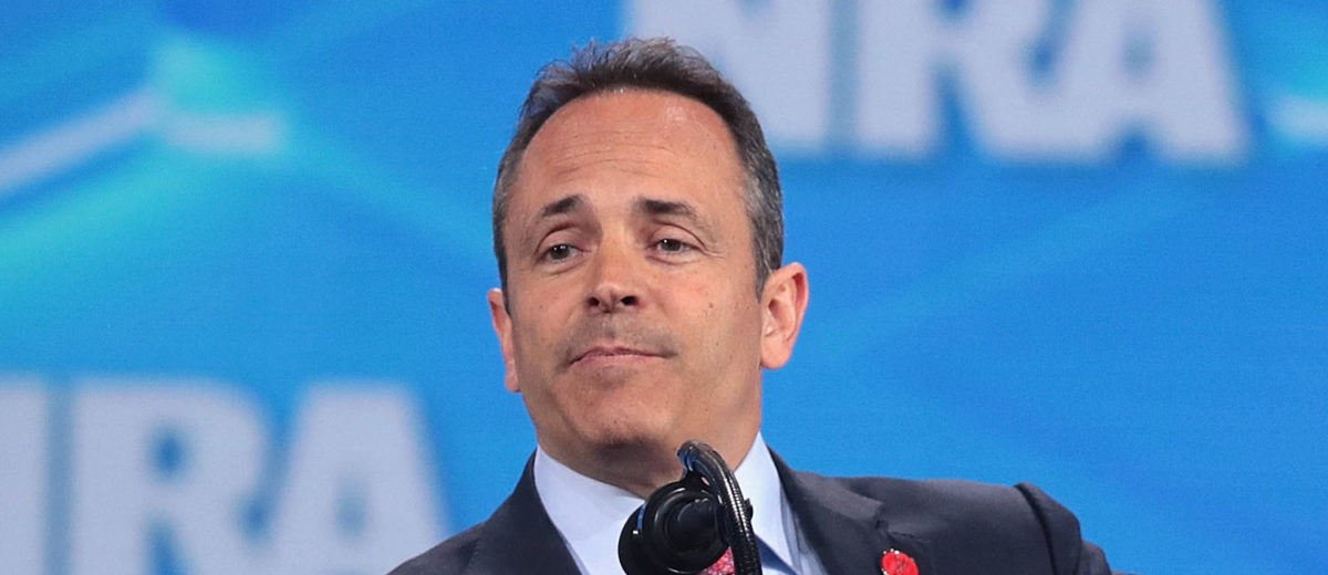 Kentucky governor Matt Bevin speaks to guests during the NRA-ILA Leadership Forum at the 148th NRA Annual Meetings & Exhibits on April 26, 2019 in Indianapolis, Indiana. (Photo by Scott Olson/Getty Images)