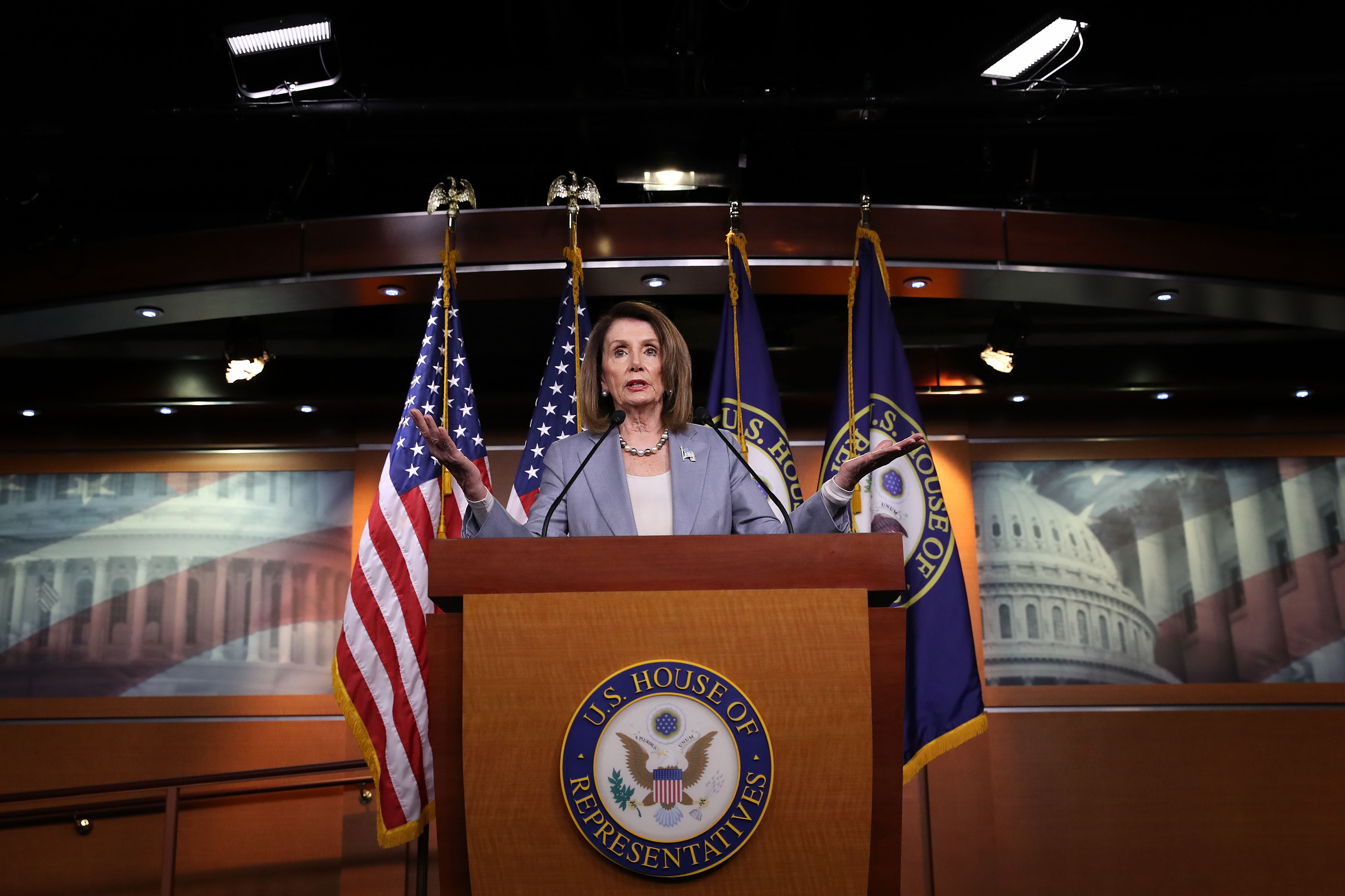 Speaker of the House Nancy Pelosi answers questions during a press conference at the U.S. Capitol (Win McNamee/Getty Images)