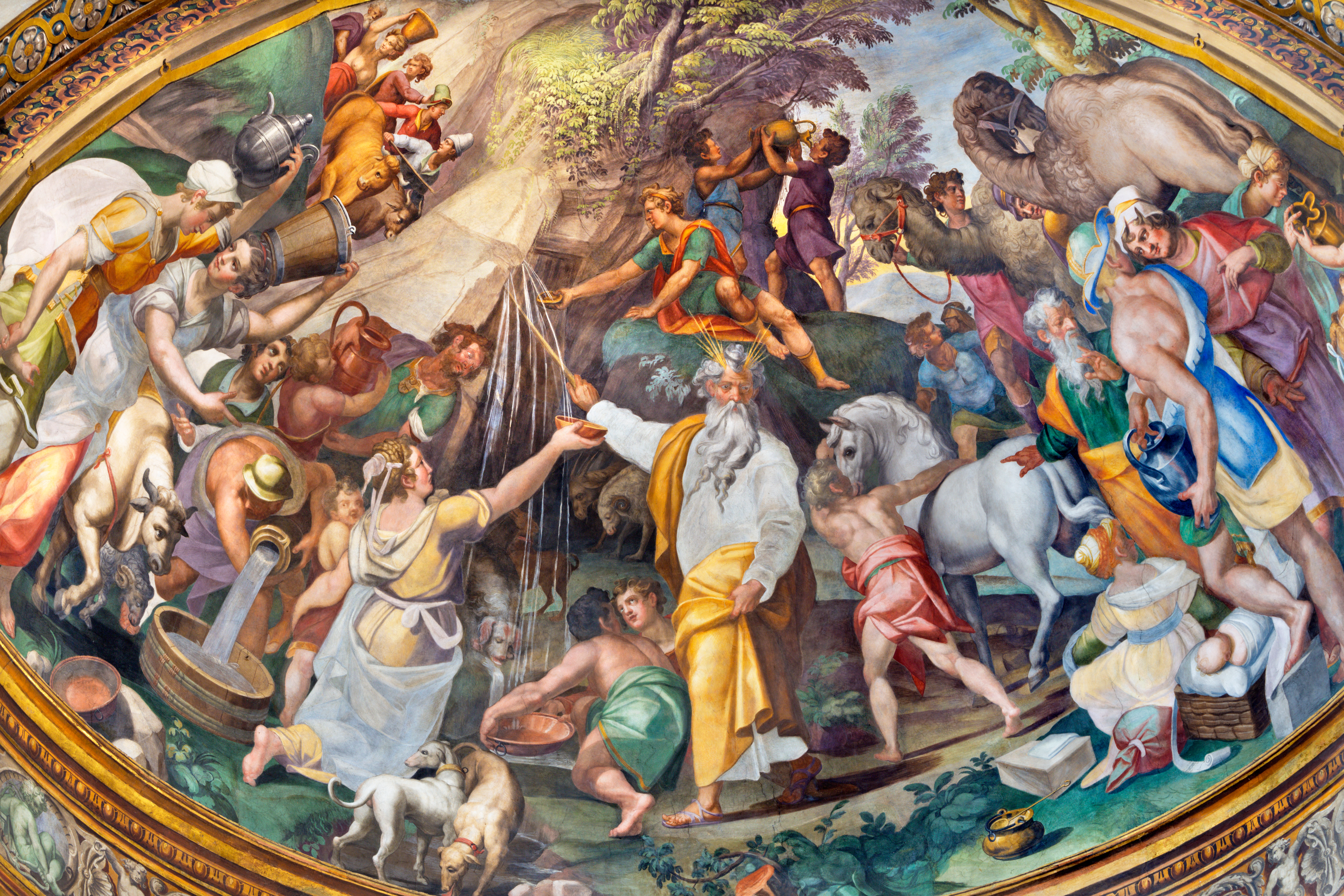 The fresco of the scene as Moses gets water from the rock in side apse of Duomo by Oracio Samacchini (1570 - 1574). (Photo by Renata Sedmakova/Shutterstock)