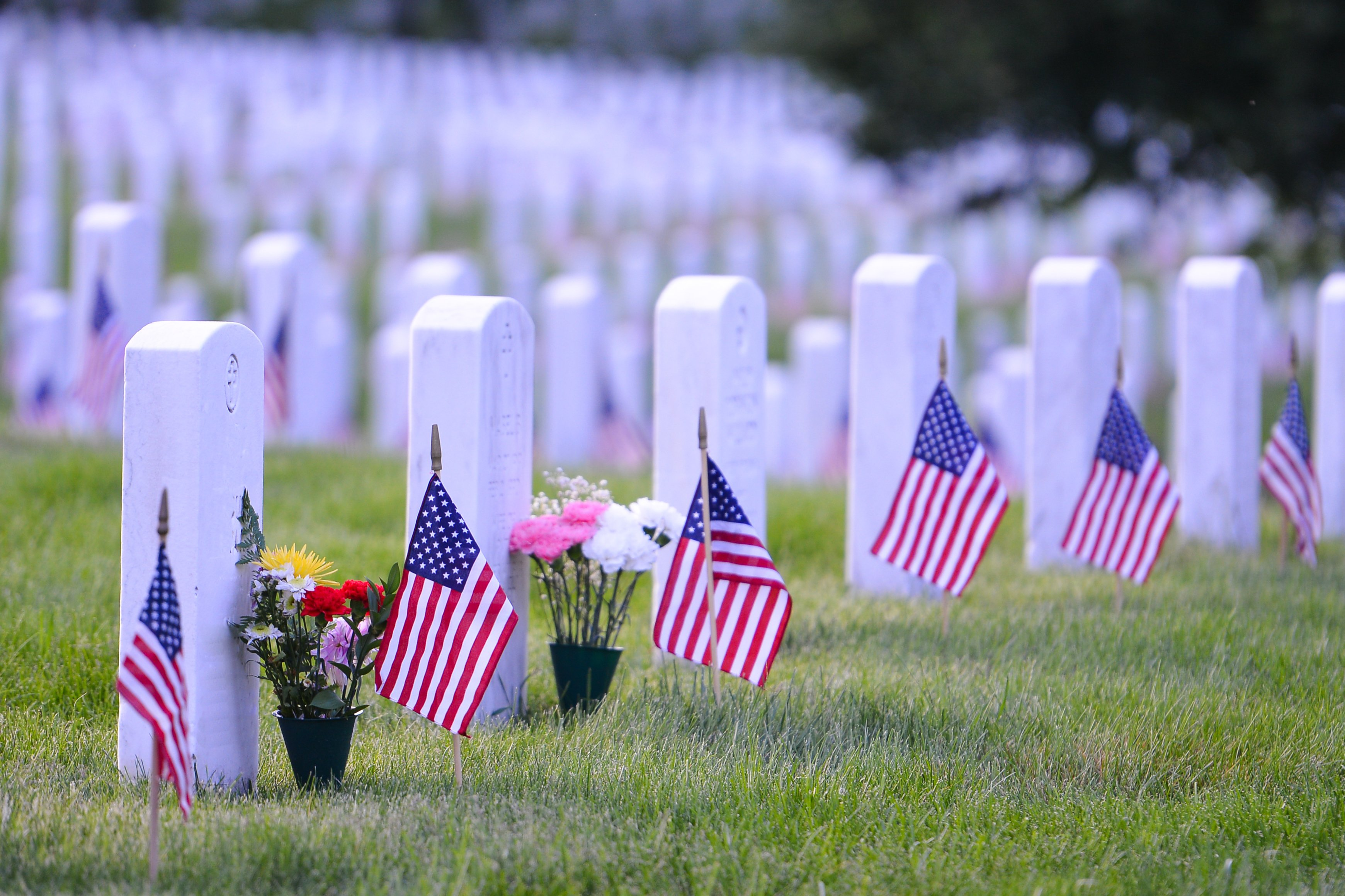 Arlington National Cemetery with a flag next to each headstone during Memorial Day (Orhan Cam/Shutterstock)