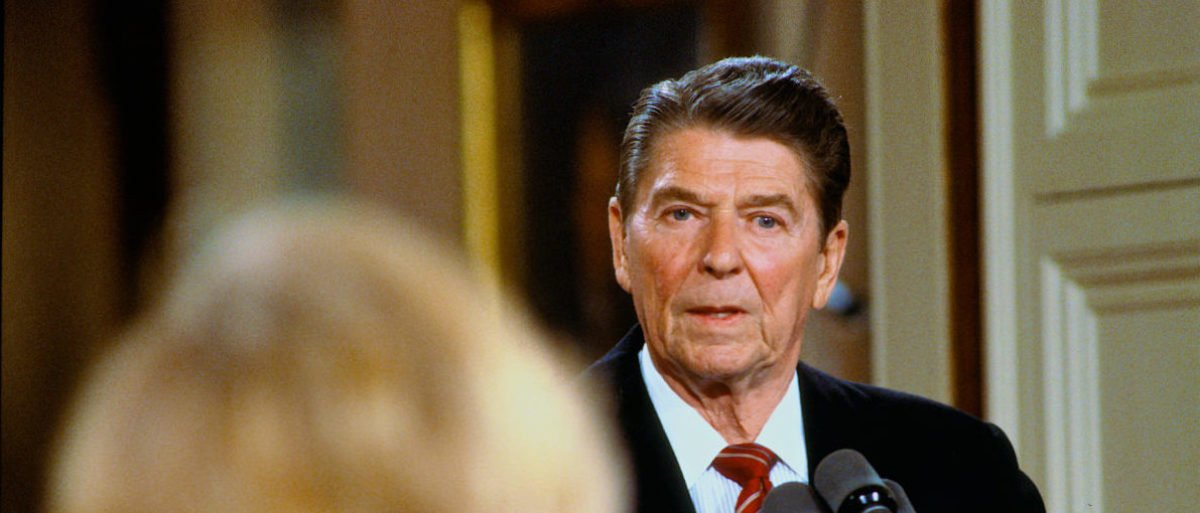Washington, DC. USA 22nd May, 1984 President Ronald Reagan answers reporter's question during news conference in the East Room of the White House. Shutterstock/Mark Reinstein