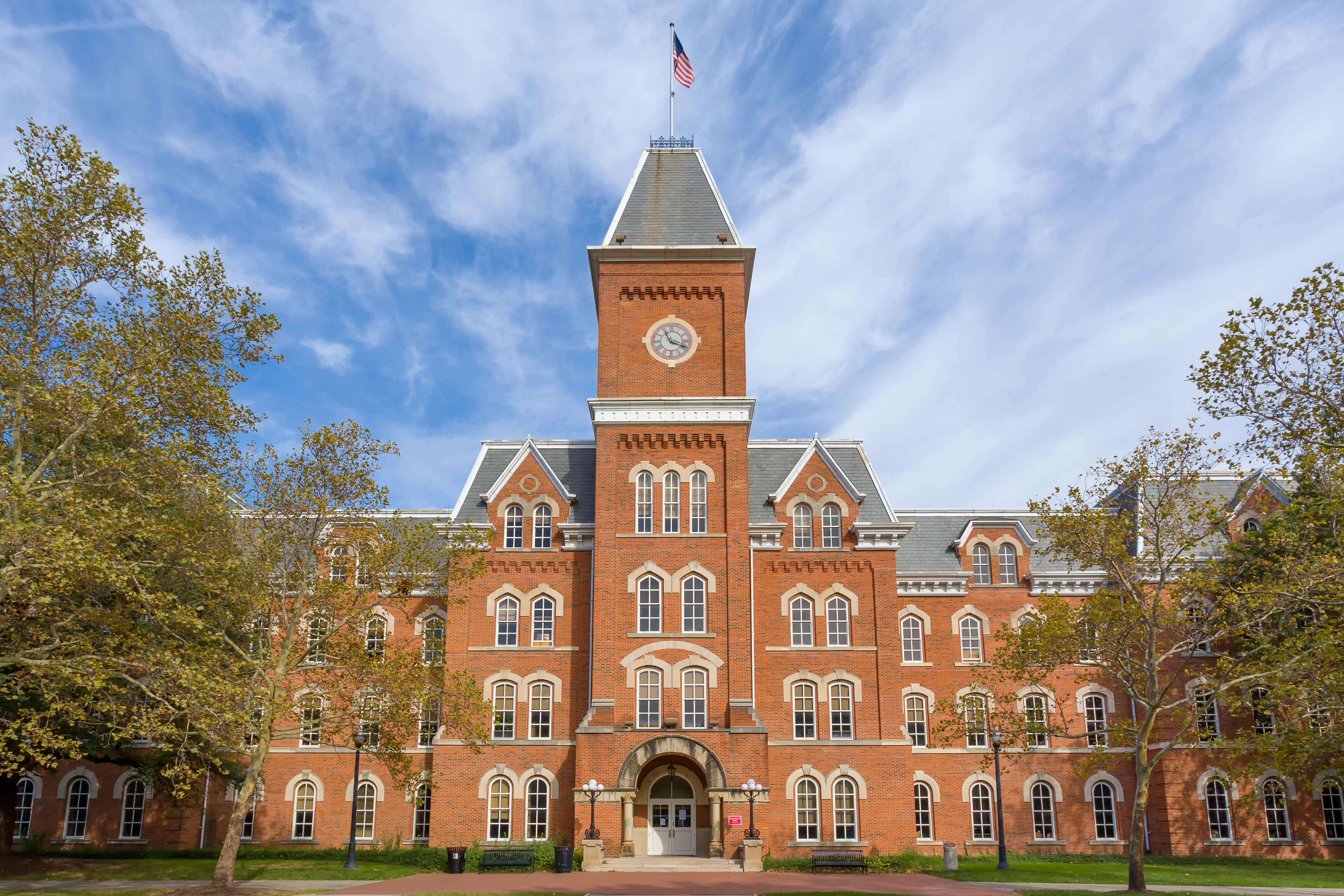 University Hall on the Ohio State University campus is pictured in the fall. Shutterstock image via Ken Wolter