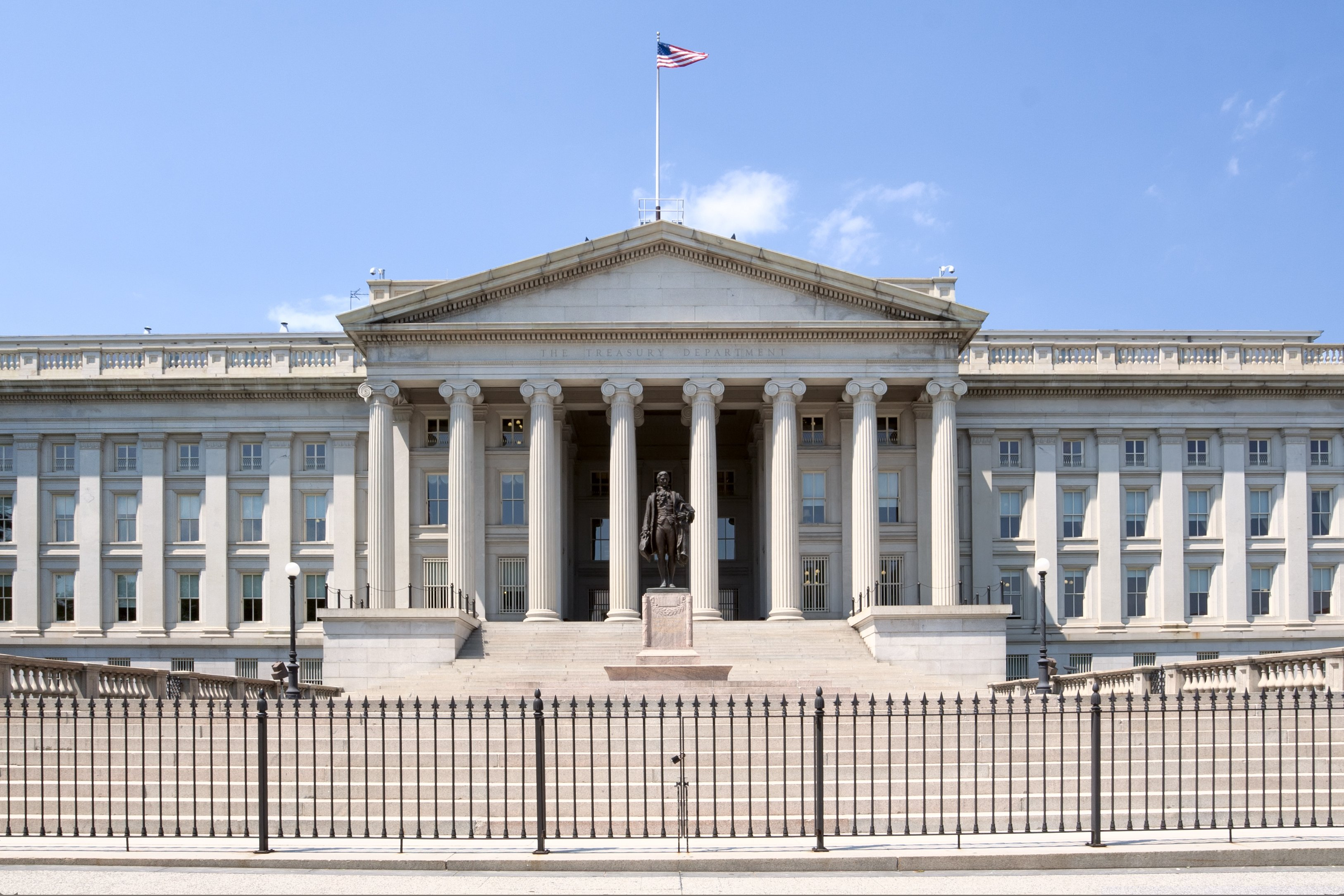 United States Department of the Treasury is located on Pennsylvania Avenue, Washington, DC, USA. Shutterstock image via Natalia Pushchina