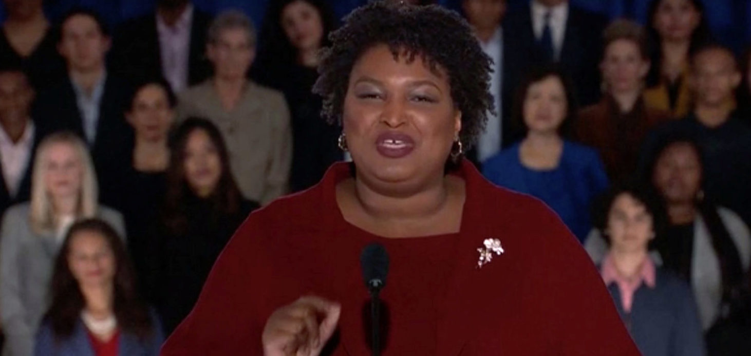 Former Georgia gubernatorial candidate Stacey Abrams delivers the Democratic response to the U.S. President Donald Trump's State of the Union address in this still frame taken from video, in Washington, U.S., February 5, 2019. REUTERS/Reuters