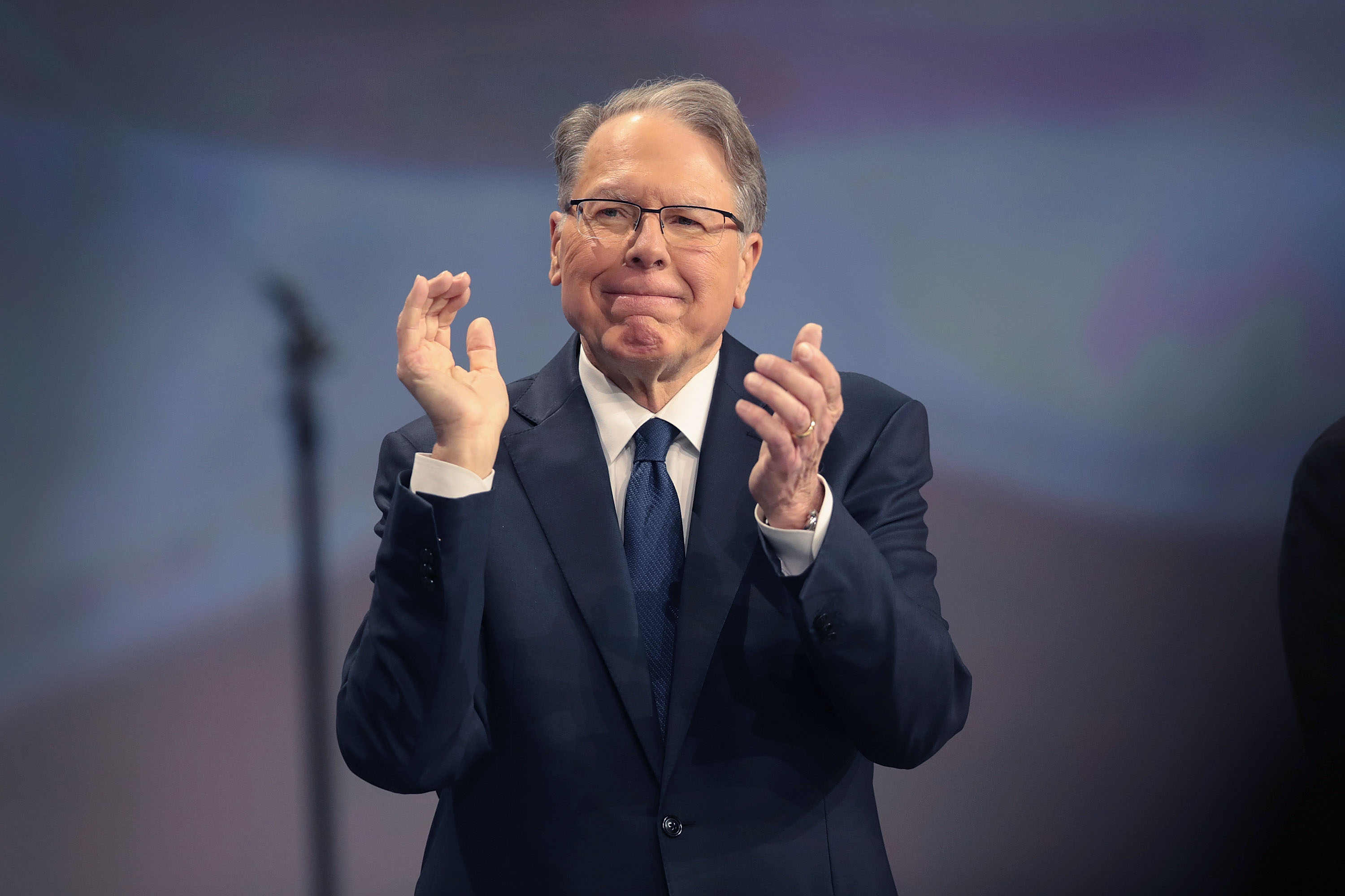 Wayne LaPierre, NRA vice president and CEO attends the NRA annual meeting of members at the 148th NRA Annual Meetings & Exhibits on April 27, 2019 in Indianapolis, Indiana. A statement was read at the meeting announcing that NRA president Oliver North, whose seat at the head table remained empty at the event, would not serve another term. There have been recent reports of tension between LaPierre and North, with North citing financial impropriety within the organization. (Photo by Scott Olson/Getty Images)